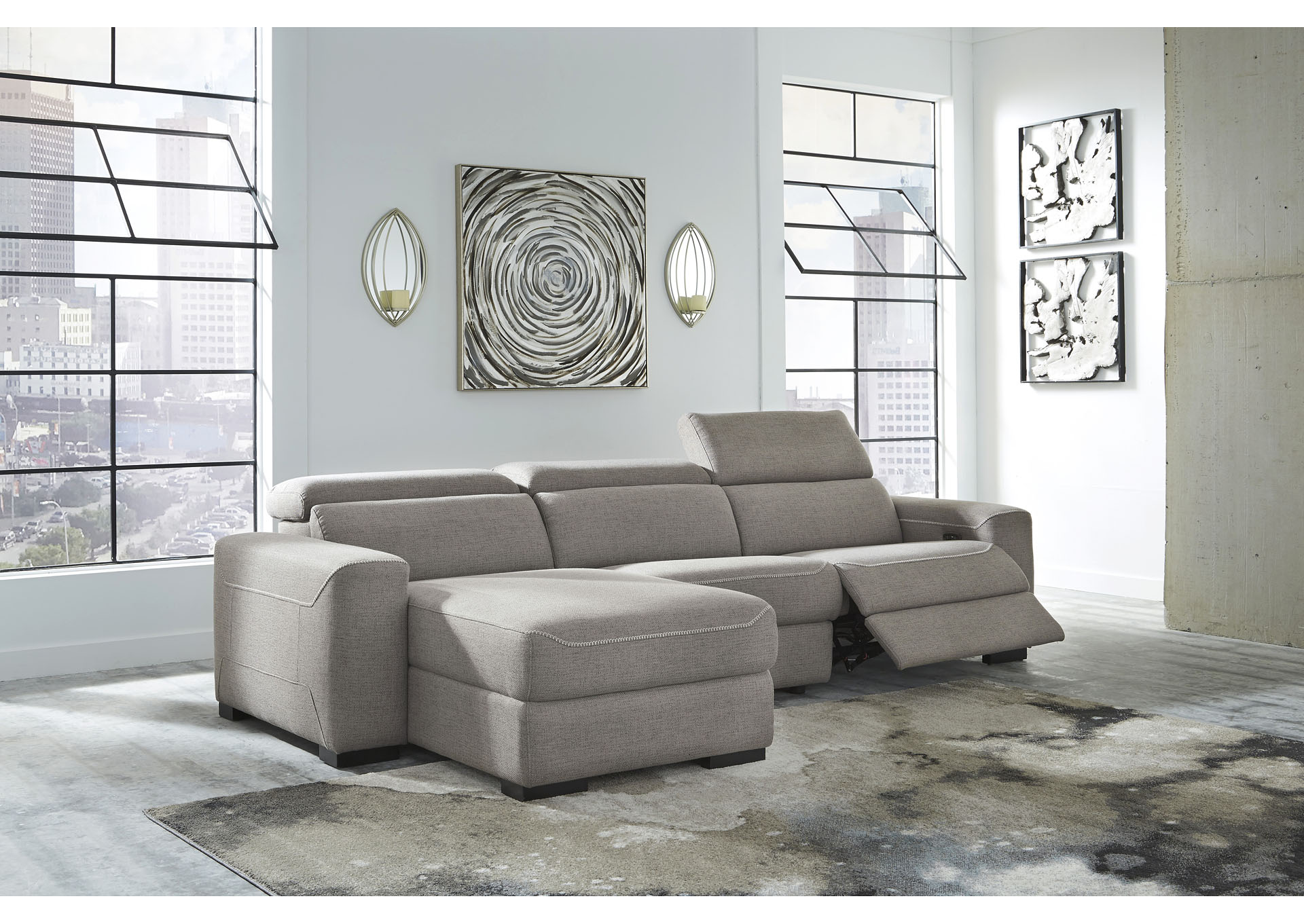 Mabton Gray Left-Arm Facing Power Reclining 3 Piece Sectional Chaise,Signature Design By Ashley