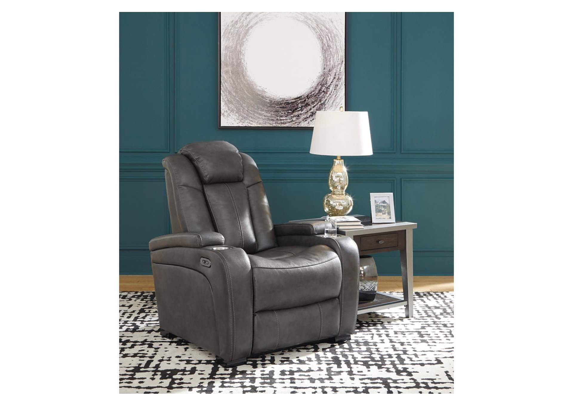 Turbulance Quarry Leather Rocker Recliner,Signature Design By Ashley