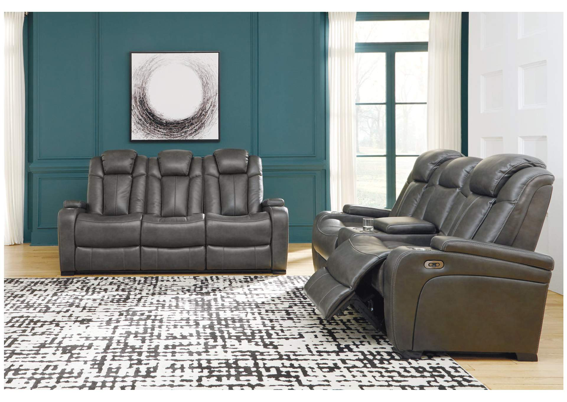Turbulance Quarry Leather Power Reclining Sofa w/Adjustable Headrest,Signature Design By Ashley
