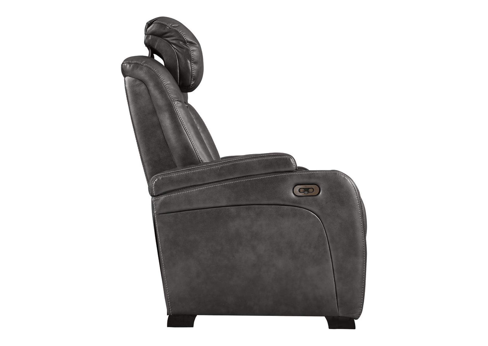 Turbulance Quarry Leather Power Reclining Loveseat w/Adjustable Headrest & Console,Signature Design By Ashley