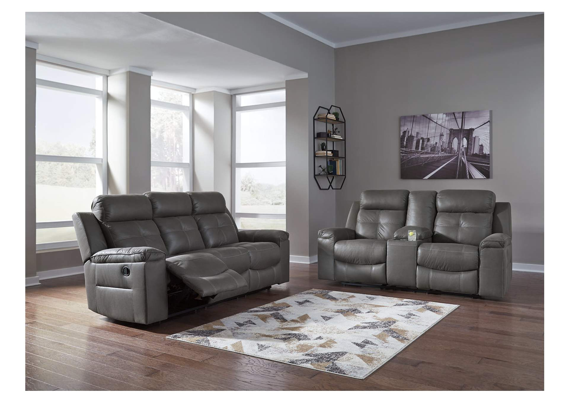 Jesolo Dark Gray Reclining Sofa & Loveseat,Signature Design By Ashley