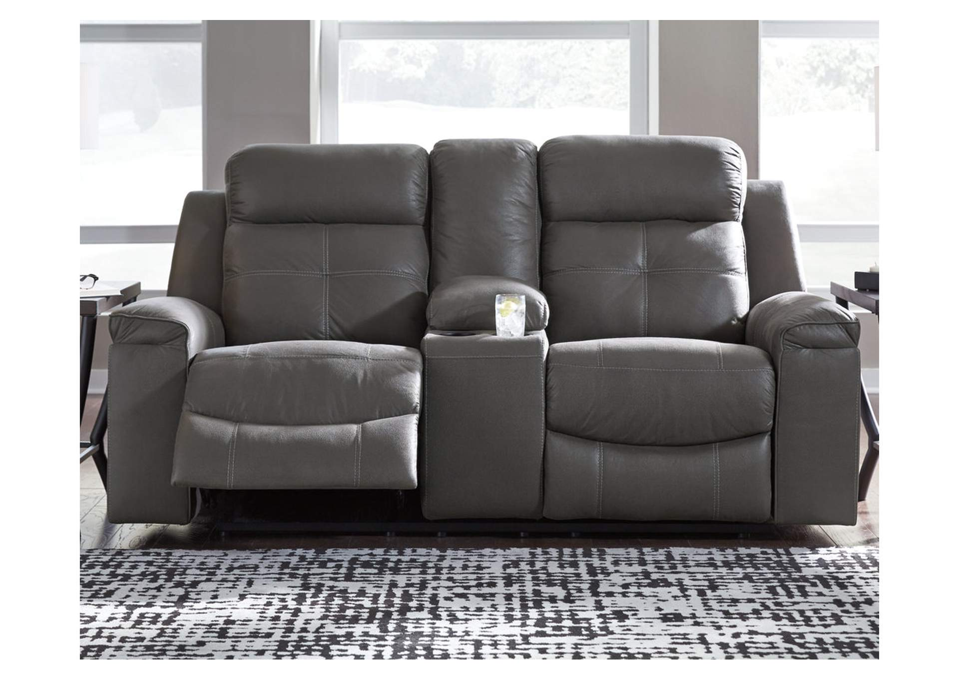 Jesolo Dark Gray Double Recliner Loveseat w/Console,Signature Design By Ashley
