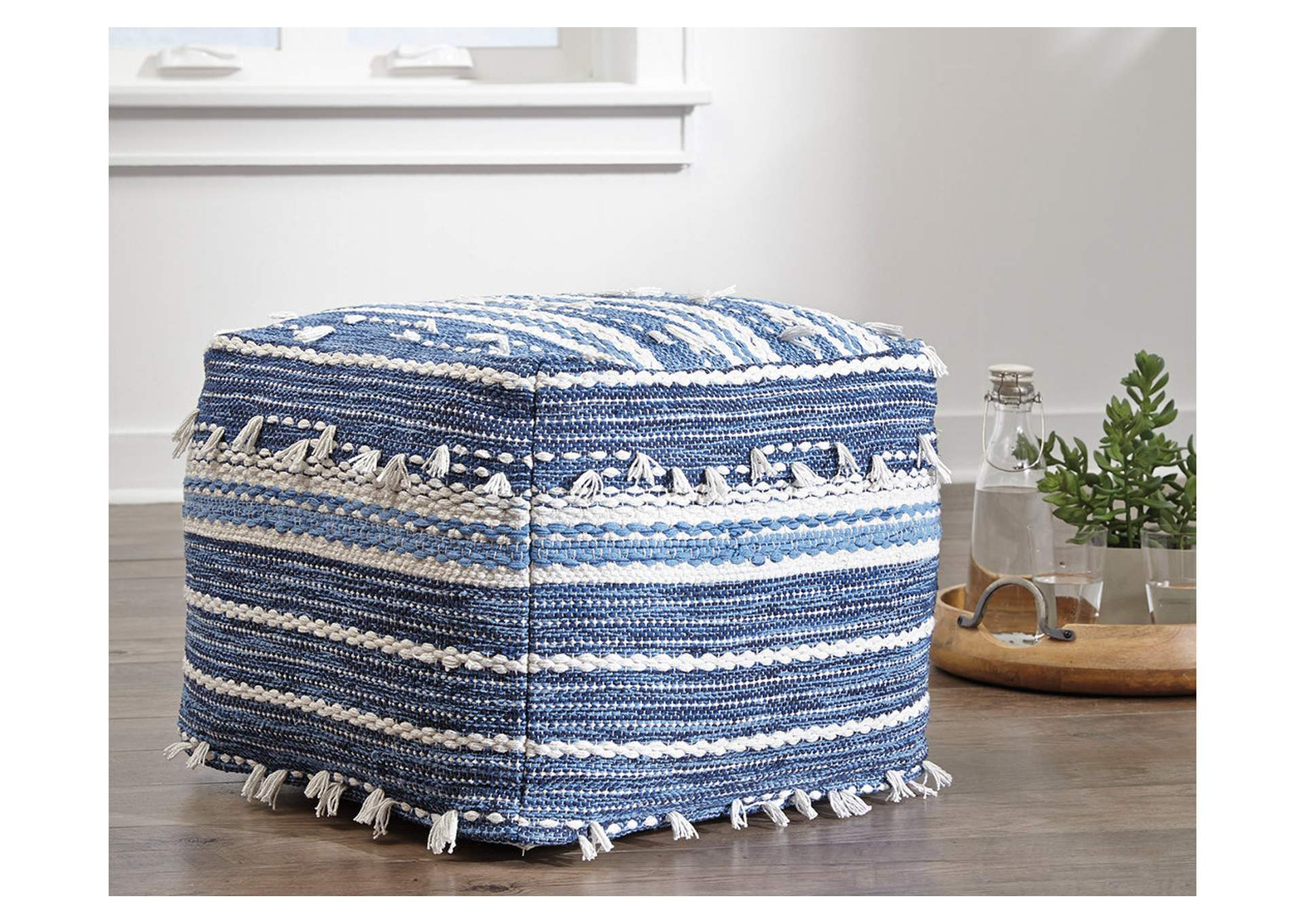 Anthony Blue/White Pouf,Direct To Consumer Express
