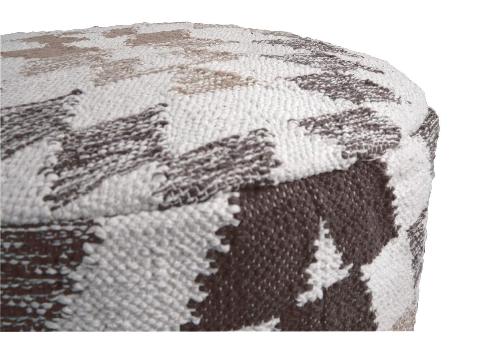Abraham White/Brown Pouf,Direct To Consumer Express