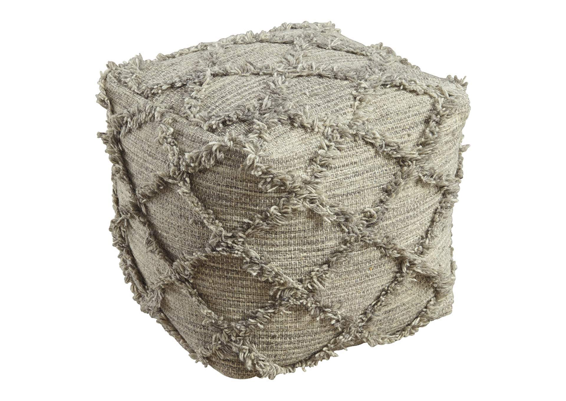Adelphie Natural/Gray Pouf,Direct To Consumer Express