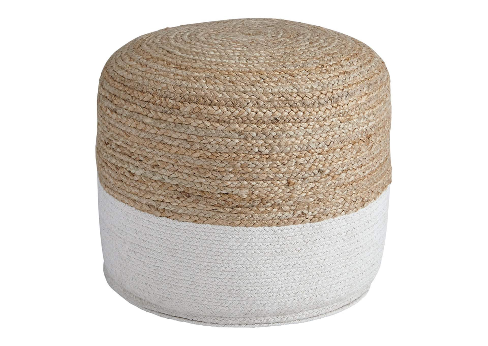 Sweed Valley Natural/White Pouf,Direct To Consumer Express