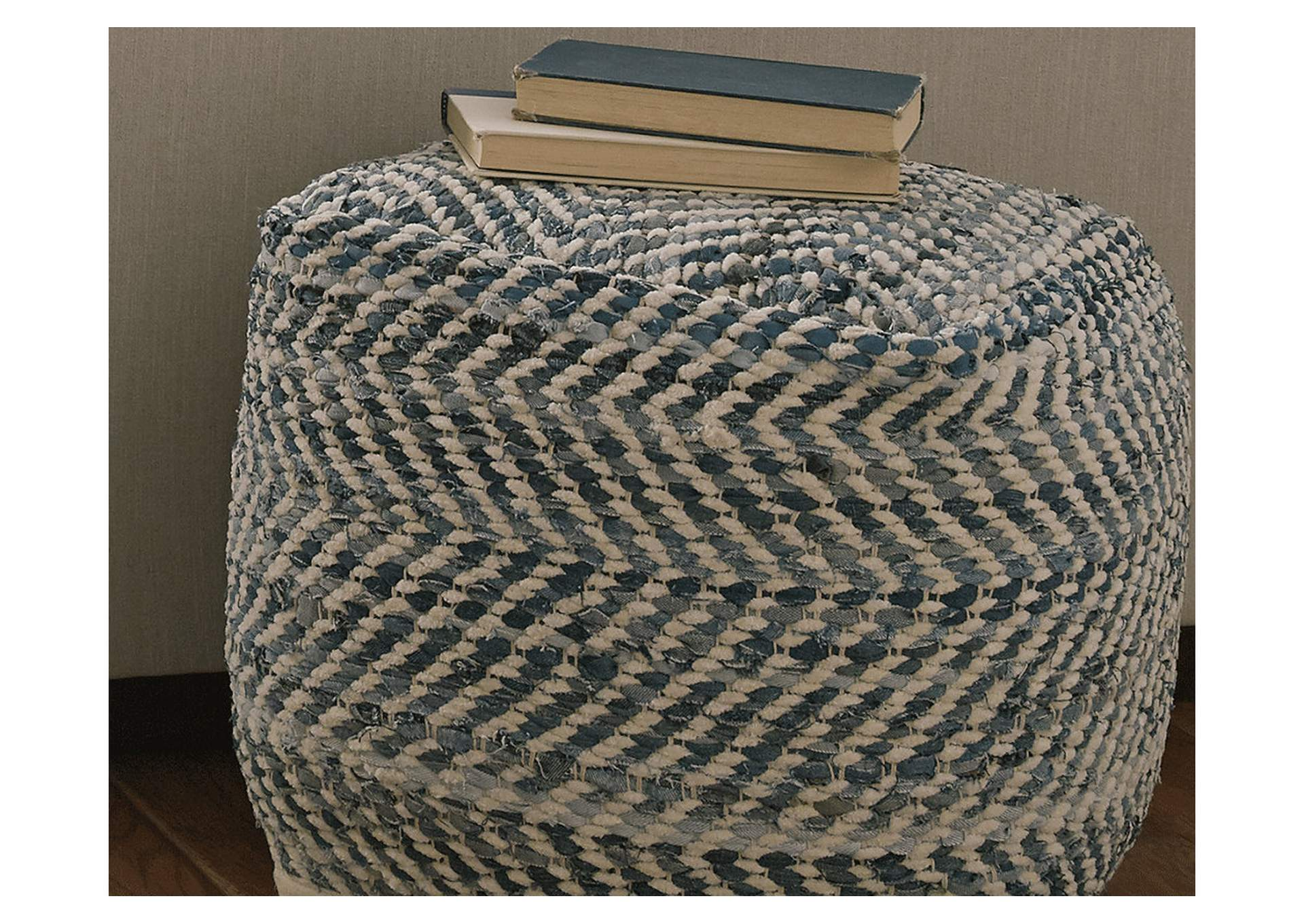 Chevron Blue Pouf,Direct To Consumer Express