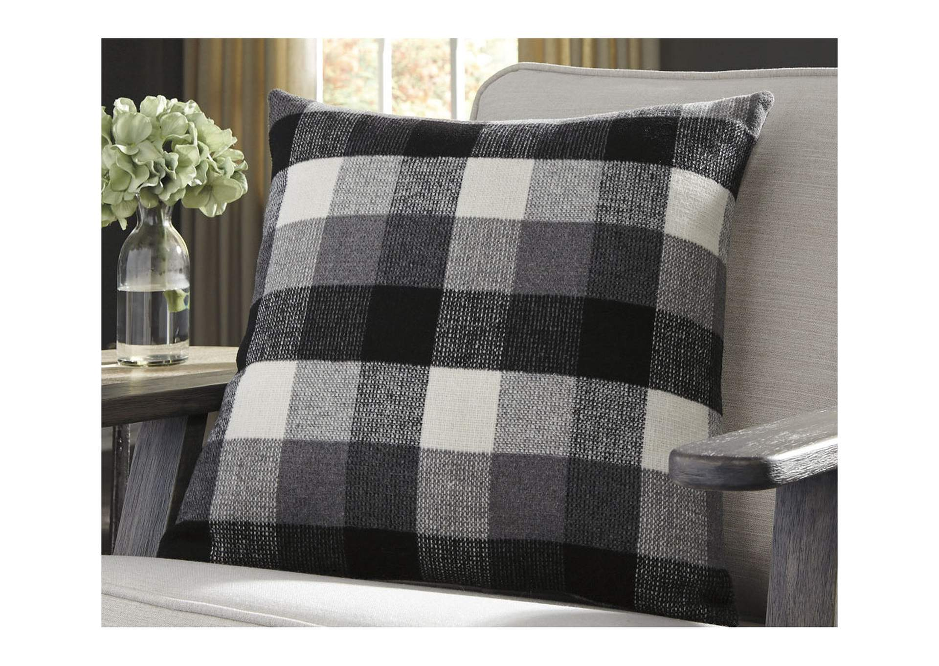 Carrigan Black/White Plaid Fabric Pillow,Signature Design By Ashley