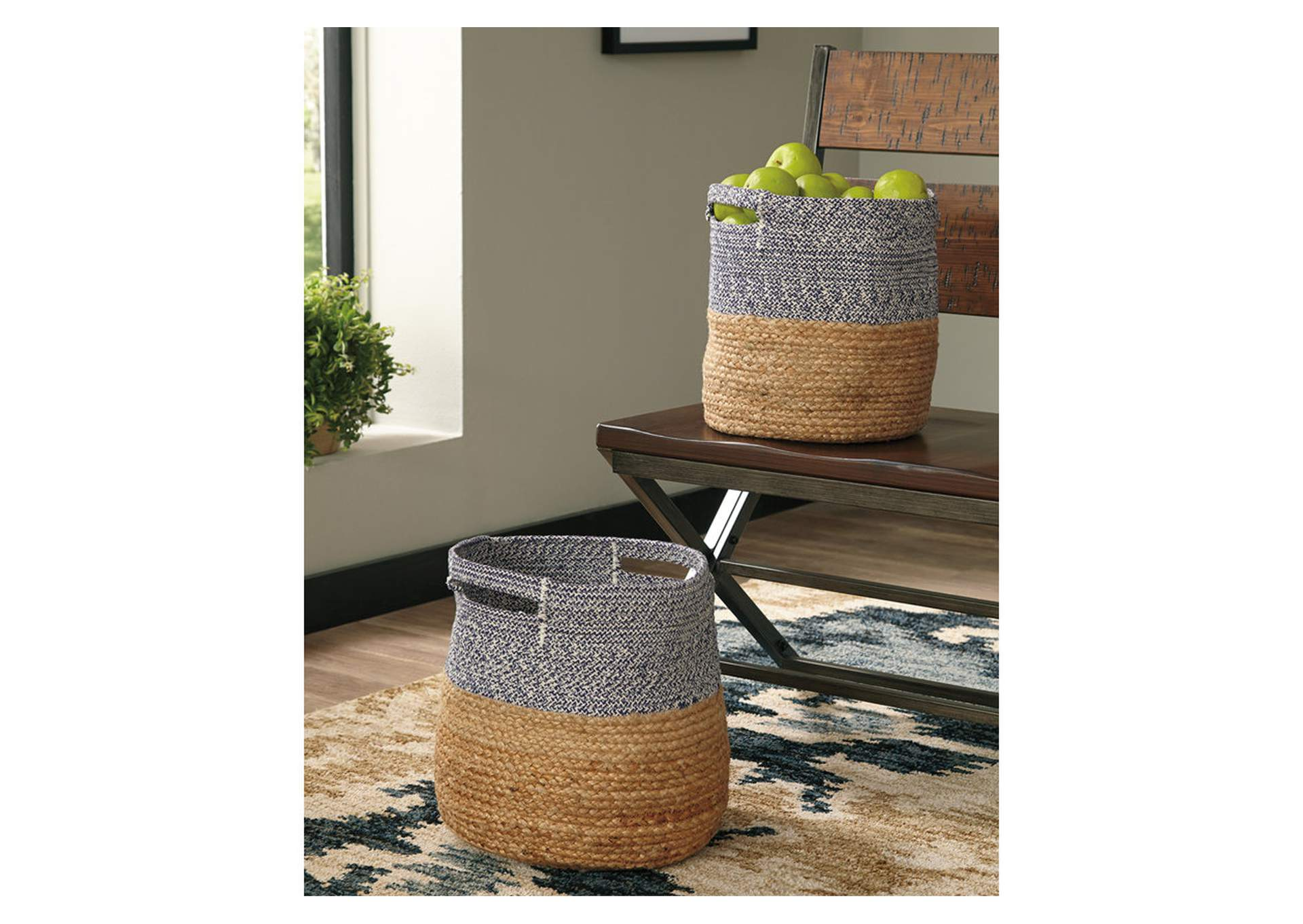 Parrish Natural/Blue Basket Set (Set of 2),Direct To Consumer Express