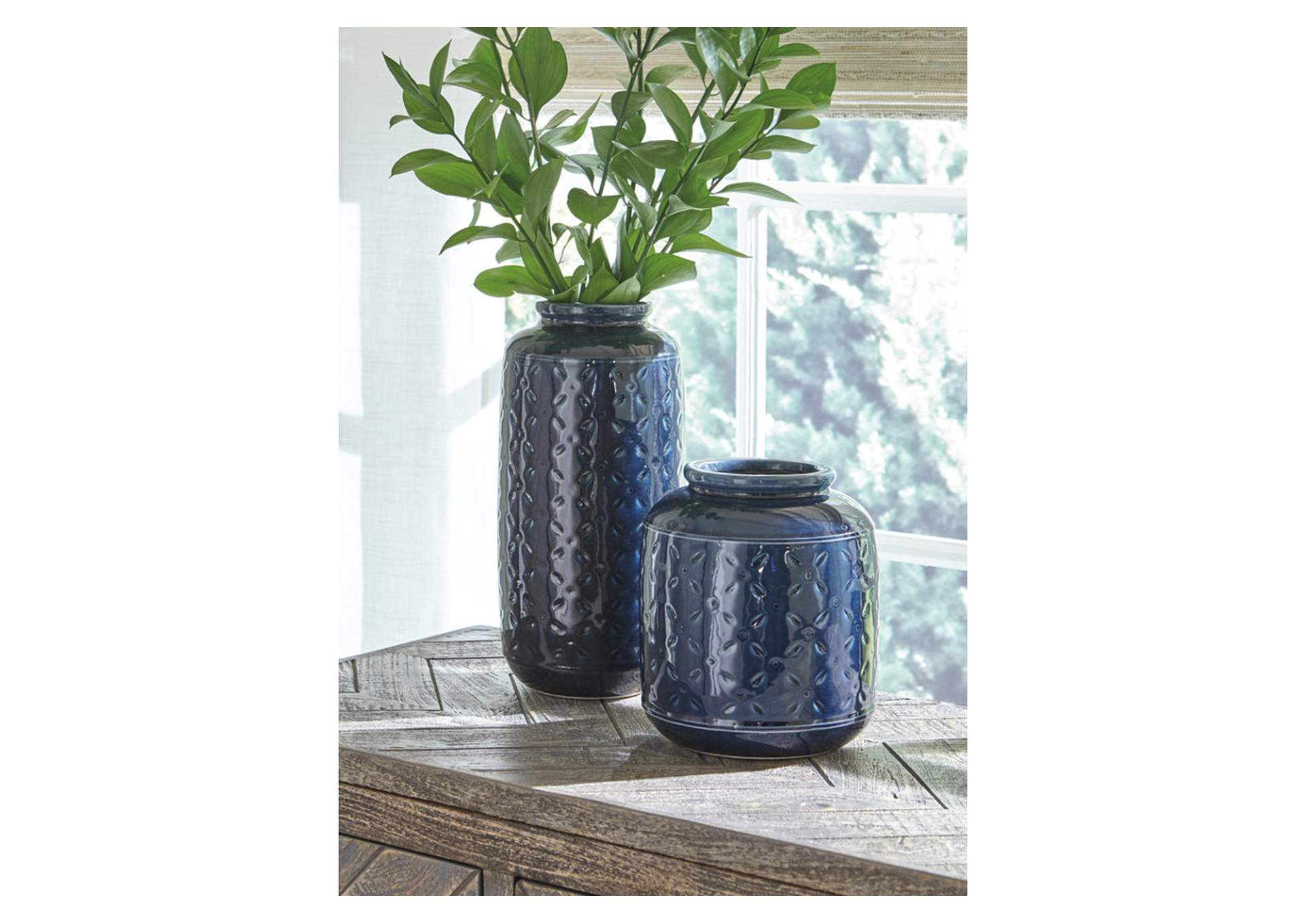 Marenda Navy Blue Vase Set (Set of 2),Signature Design By Ashley