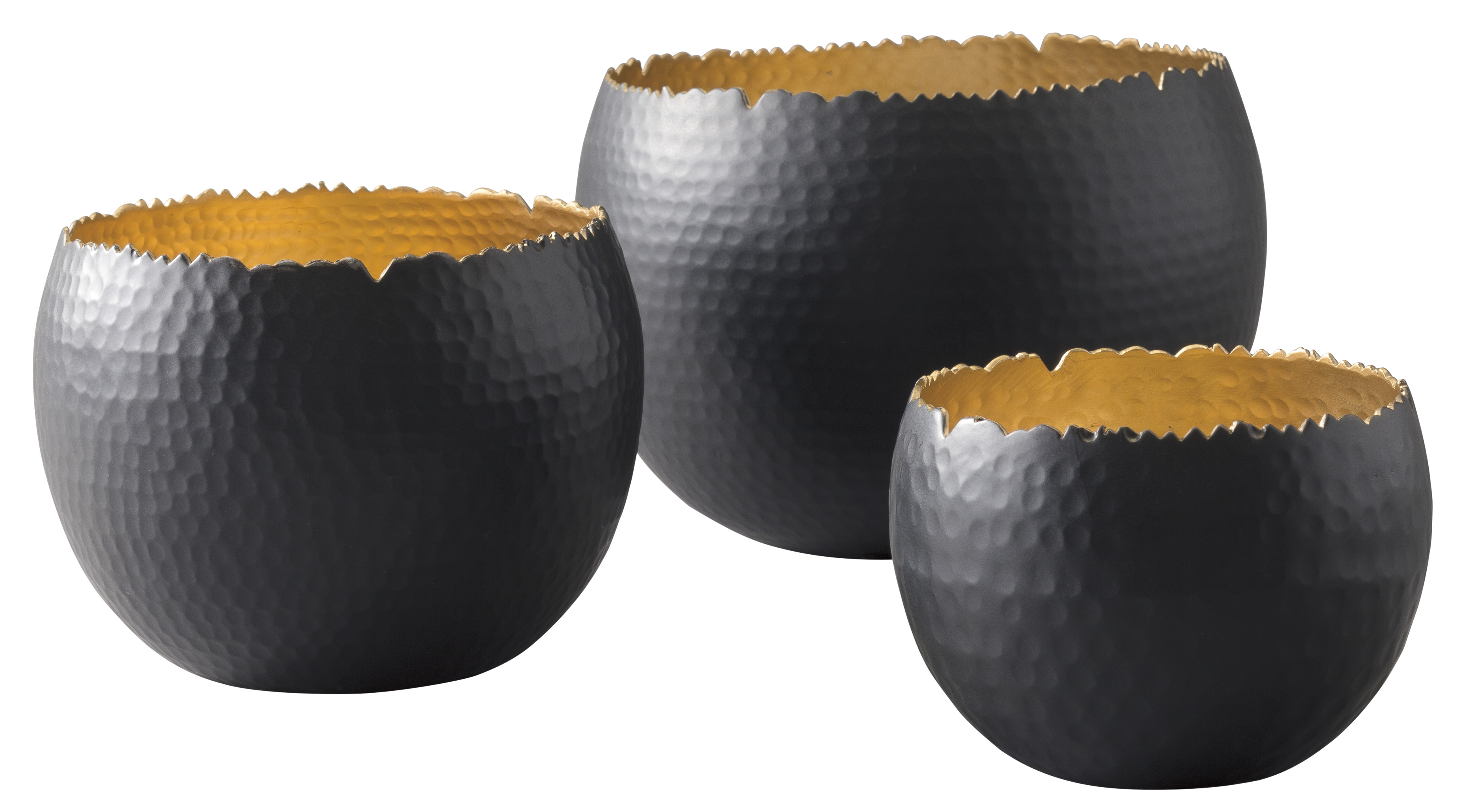 Claudine Black/Gold Finish Bowl Set (Set of 3),Direct To Consumer Express