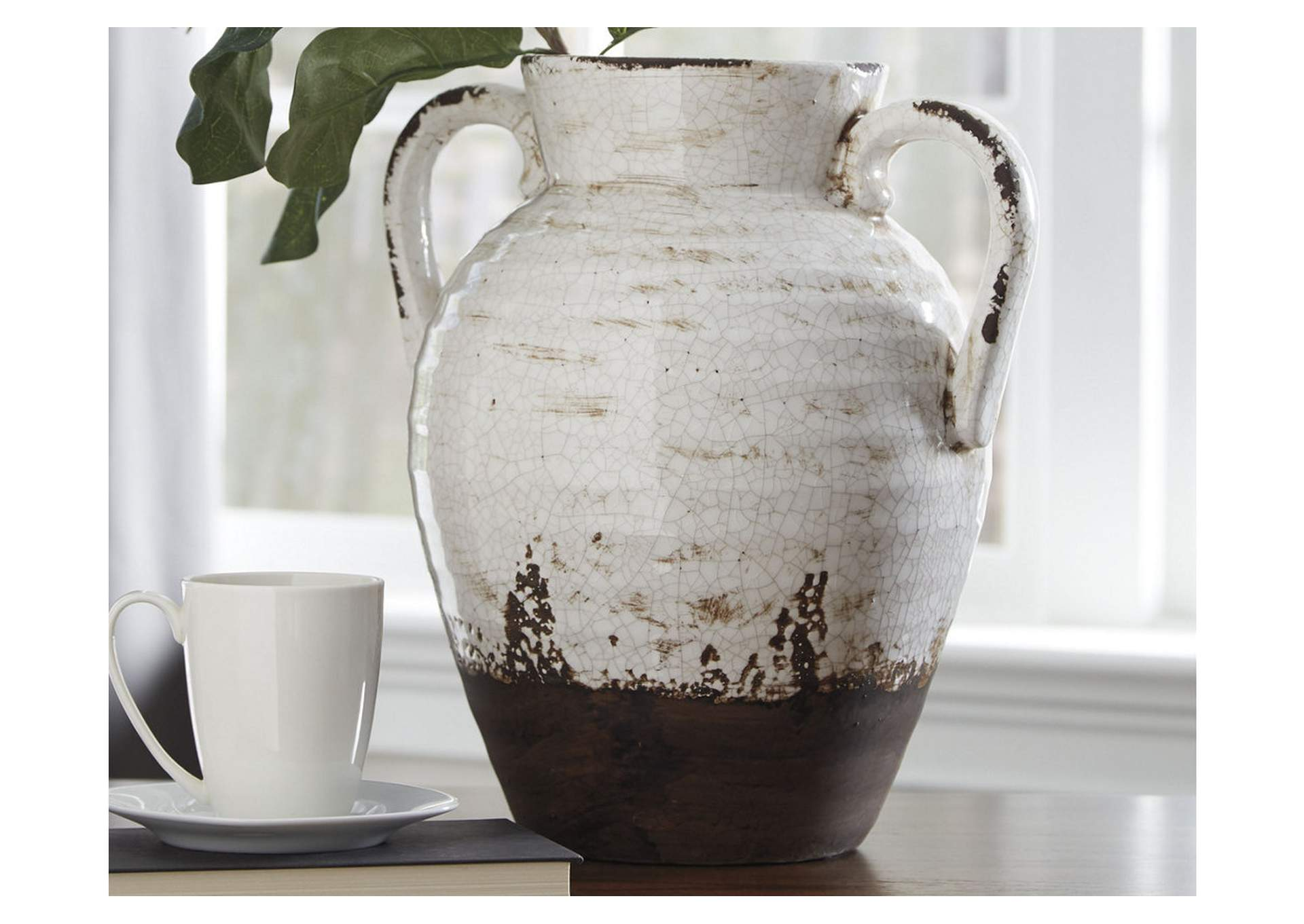 Dion Distressed White Vase,Direct To Consumer Express