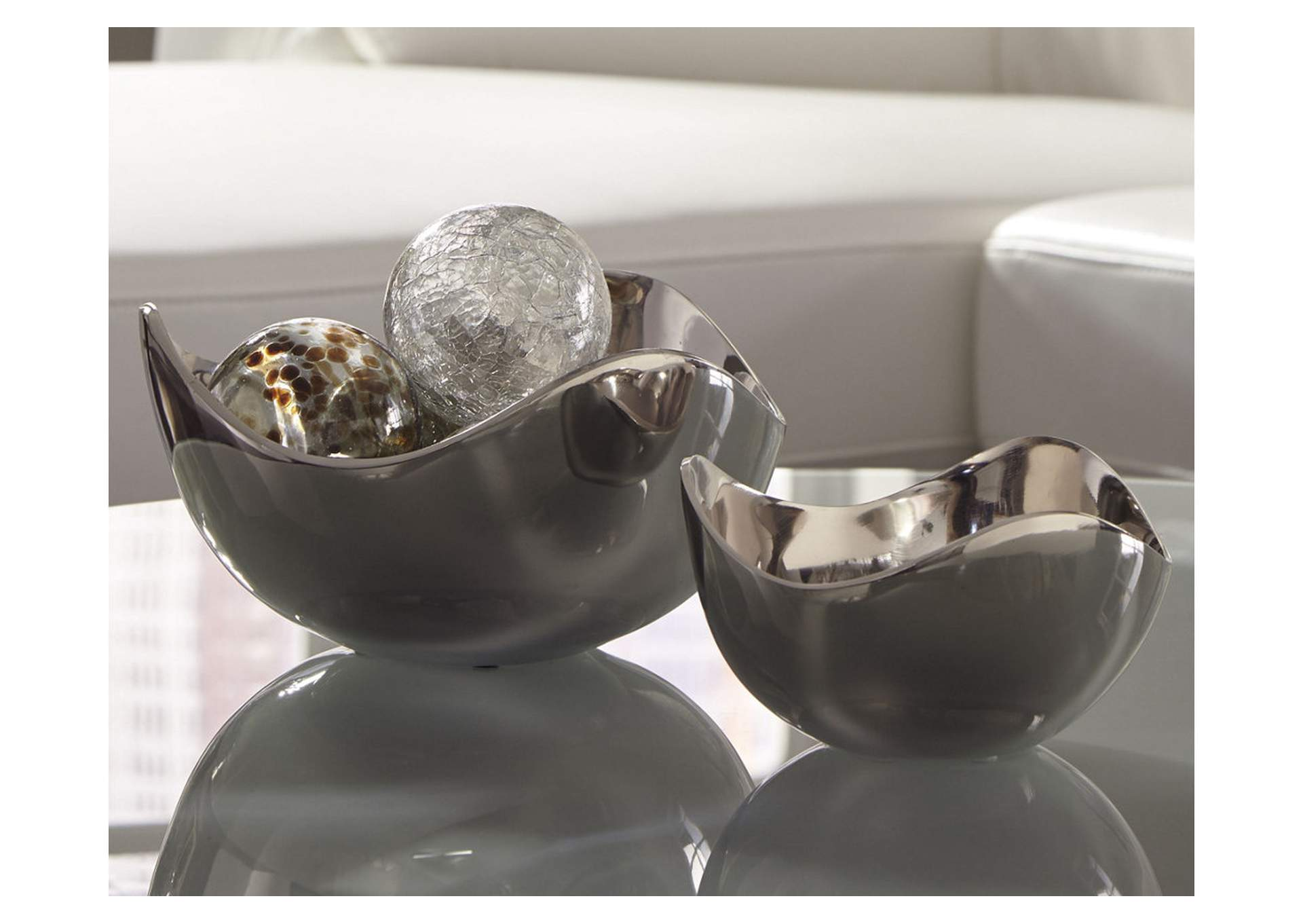 Donato Chrome Bowl Set (2 per Set),Signature Design By Ashley