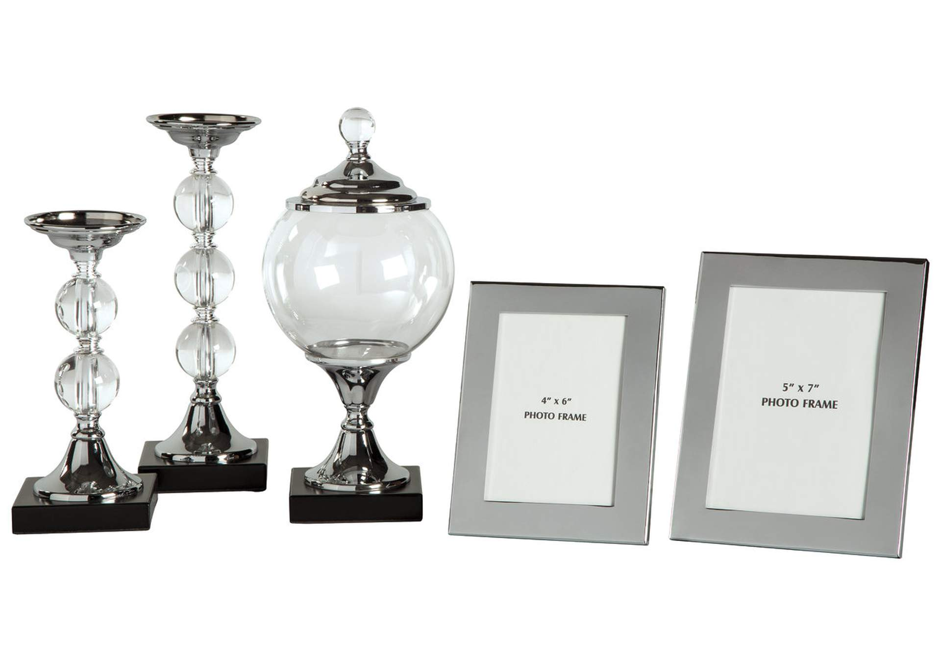 Diella Silver Finish Accessory Set (Set of 5),Direct To Consumer Express