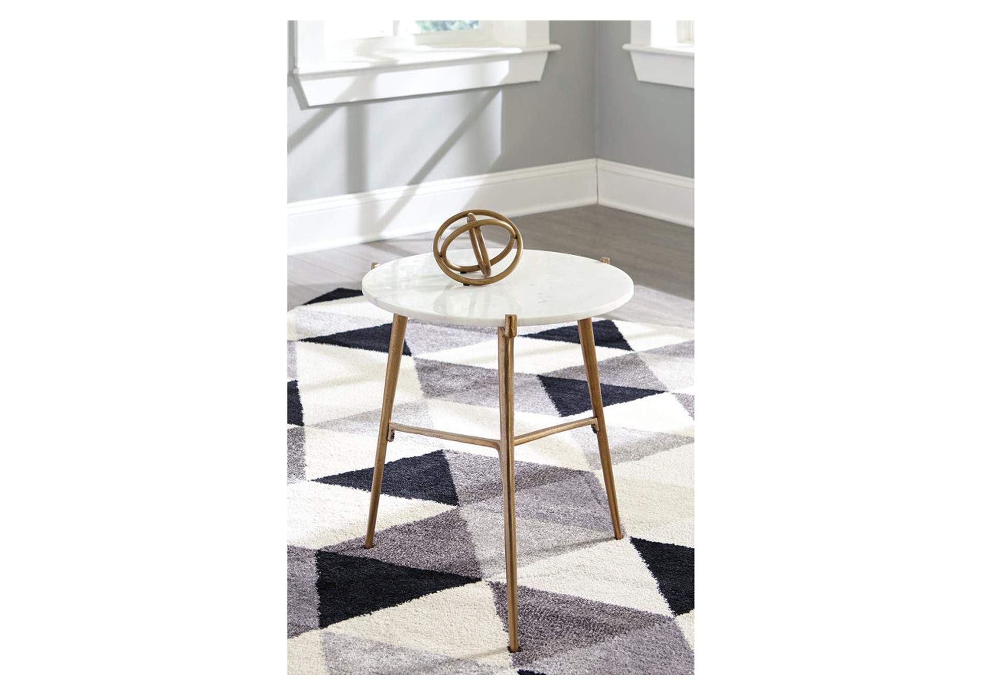Chadton White/Gold Accent Table,Signature Design By Ashley