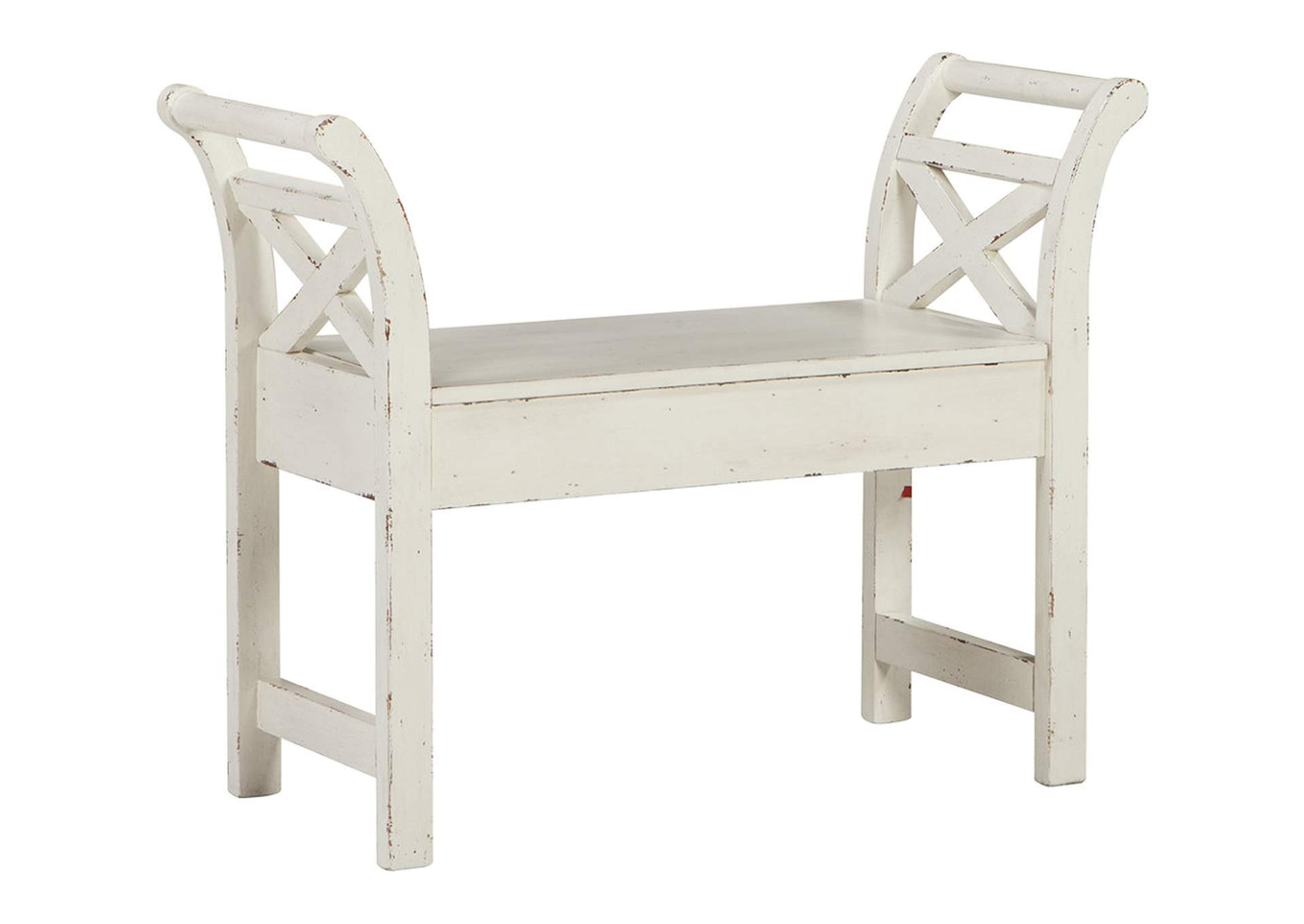 Heron Ridge White Accent Bench,Direct To Consumer Express