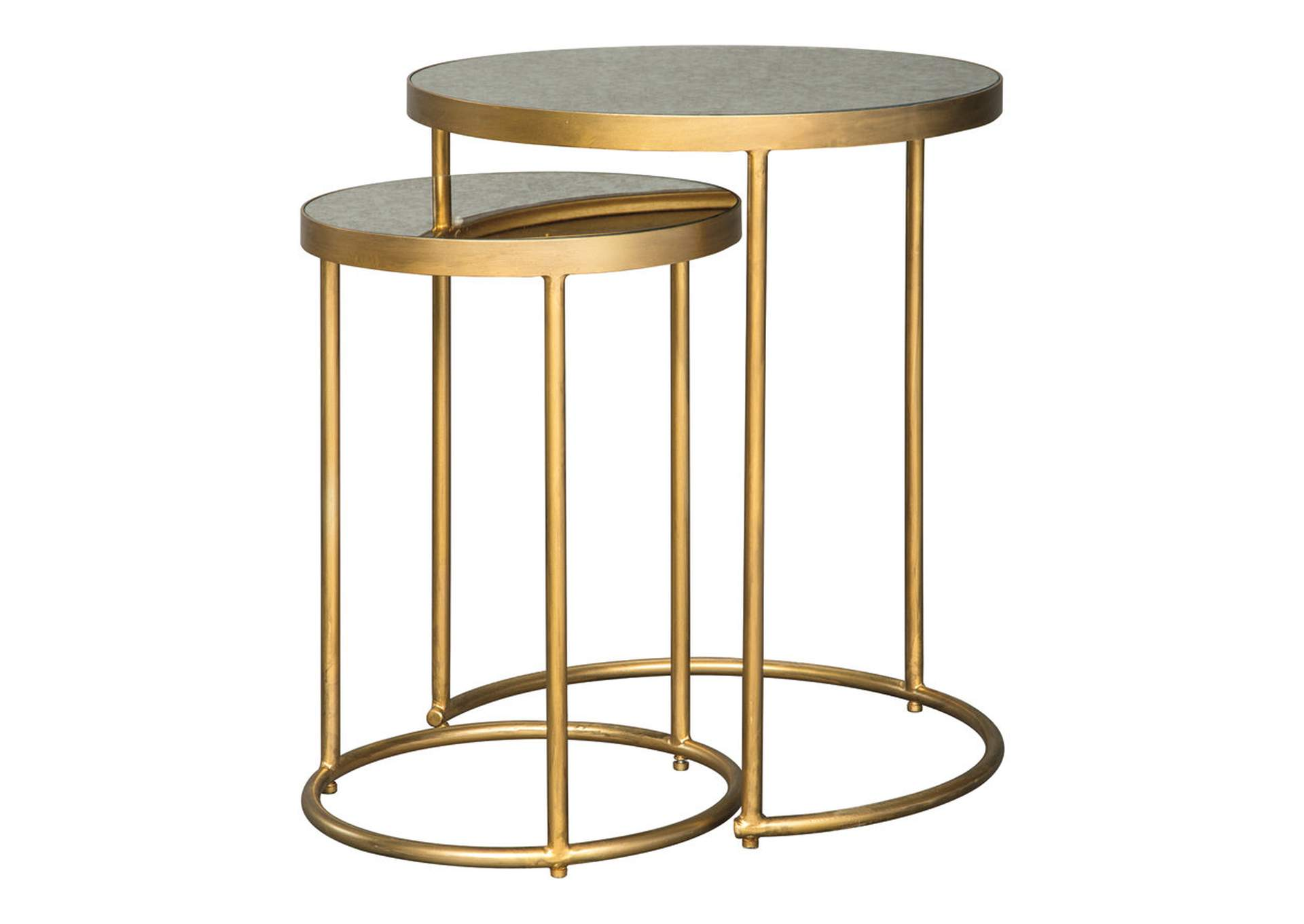 Majaci Gold Finish/White Accent Table (Set of 2),Direct To Consumer Express