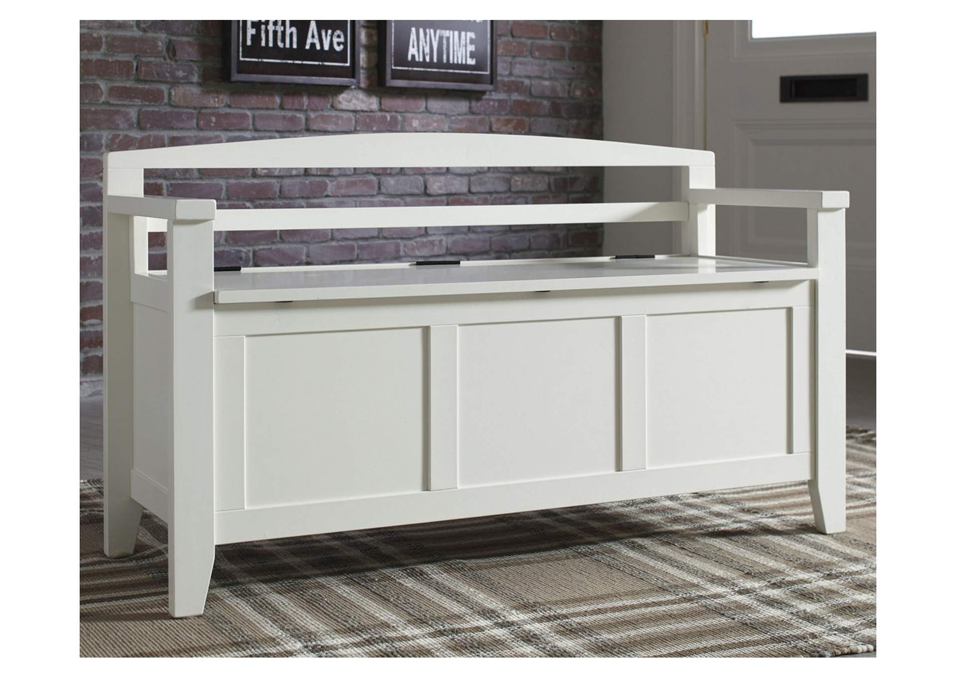 Charvanna White Storage Bench,Direct To Consumer Express