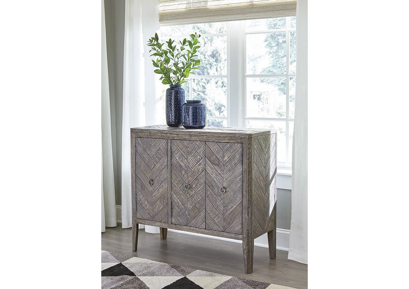 Boyerville Antique Gray Accent Cabinet,Signature Design By Ashley