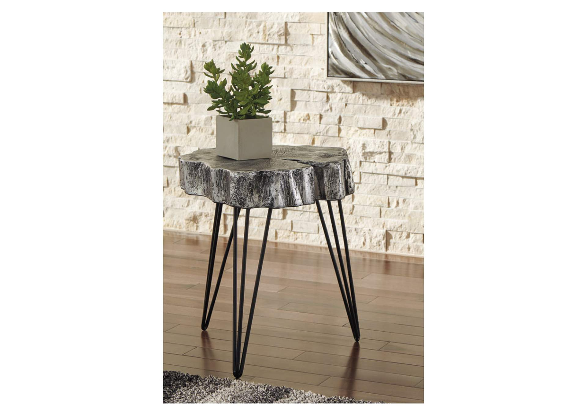 Dellman Antique Silver Finish Accent Table,Signature Design By Ashley