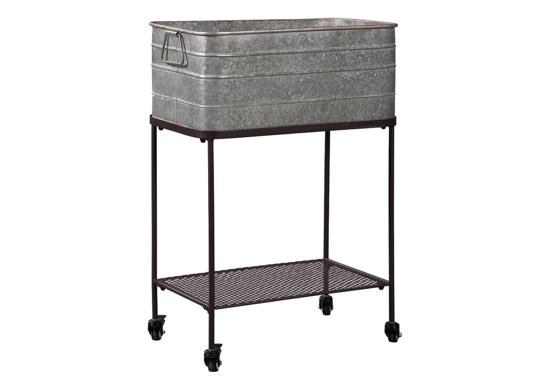 Vossman Antique Gray/Brown Metal Beverage Tub,Signature Design By Ashley