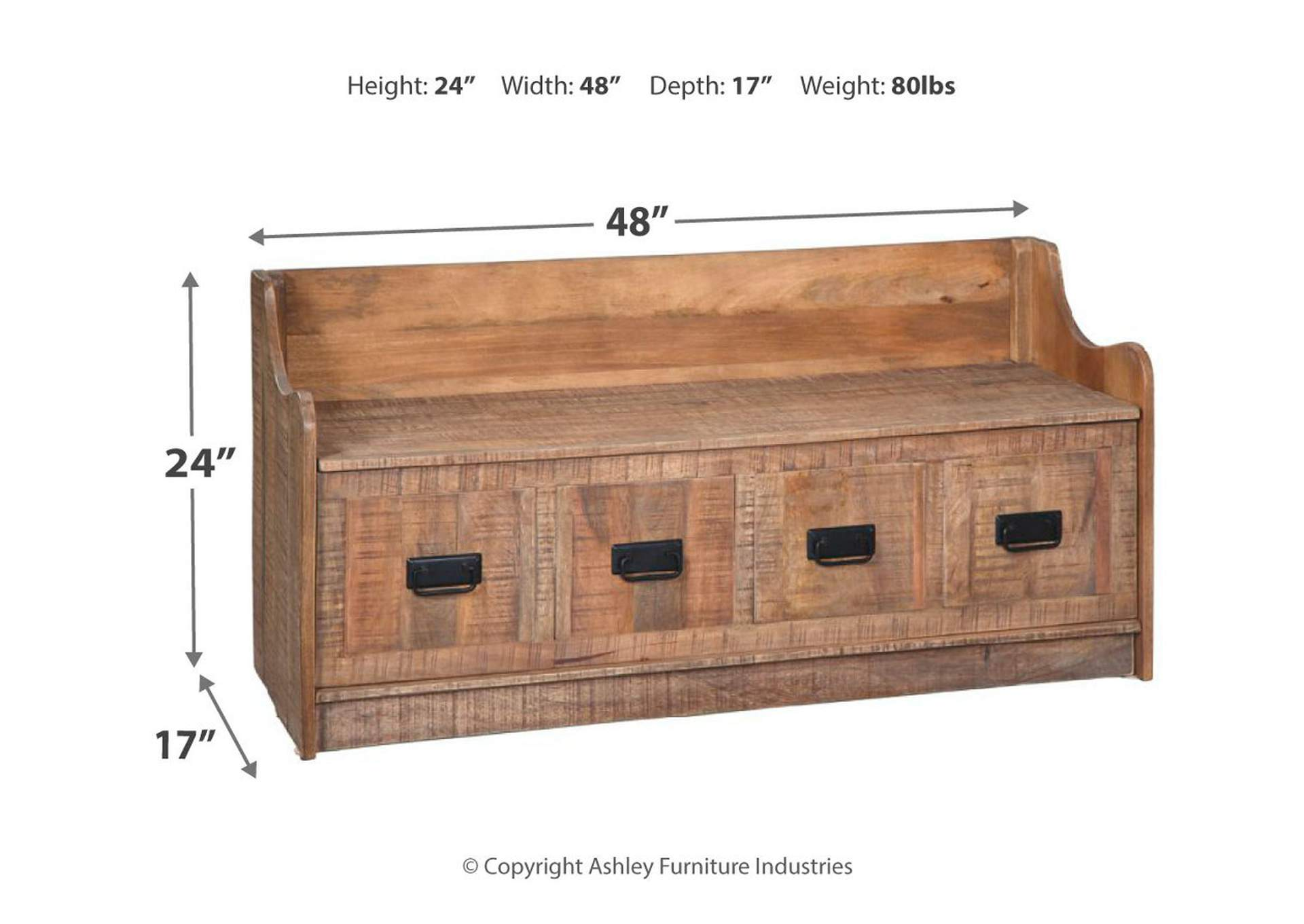 Garrettville Brown Storage Bench,Signature Design By Ashley