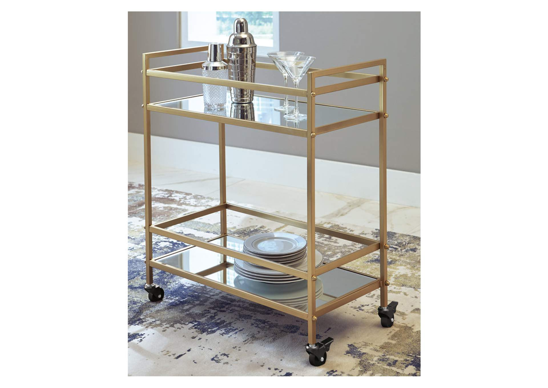 Kailman Gold Finish Bar Cart,Direct To Consumer Express