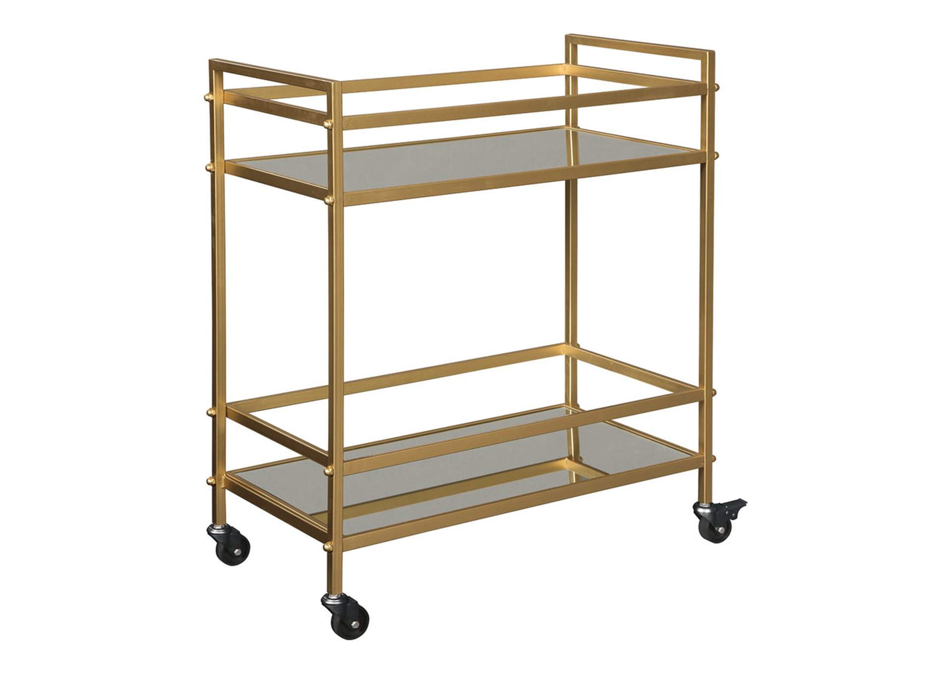 Kailman Gold Finish Bar Cart,Signature Design By Ashley