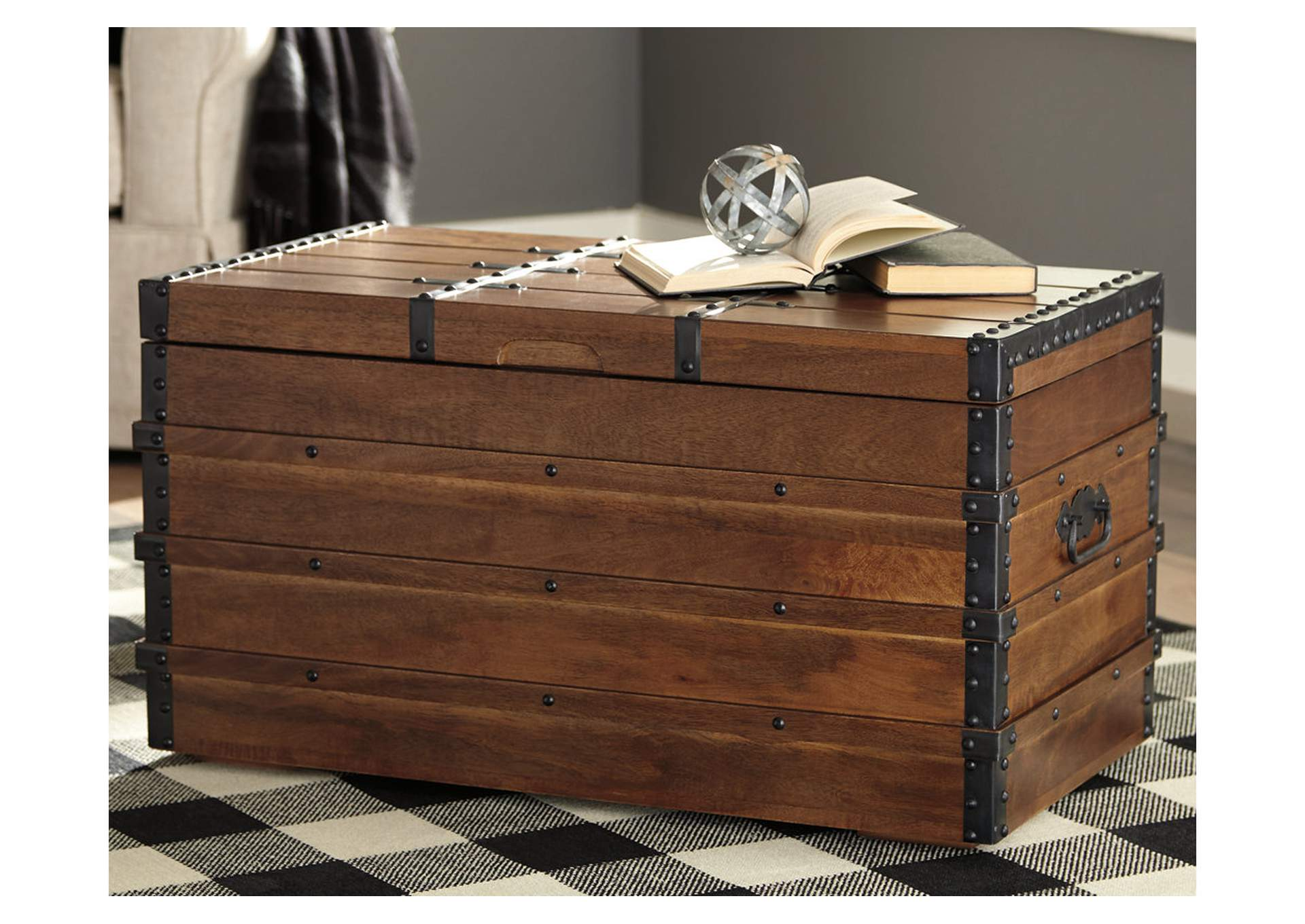 Kettleby Brown Storage Trunk,Signature Design By Ashley