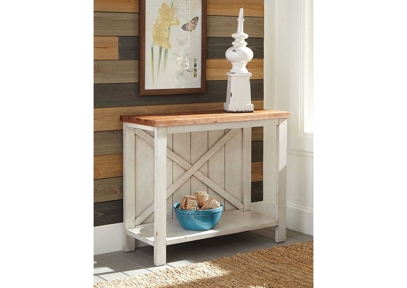 Abramsland White/Brown Console Sofa Table,Signature Design By Ashley