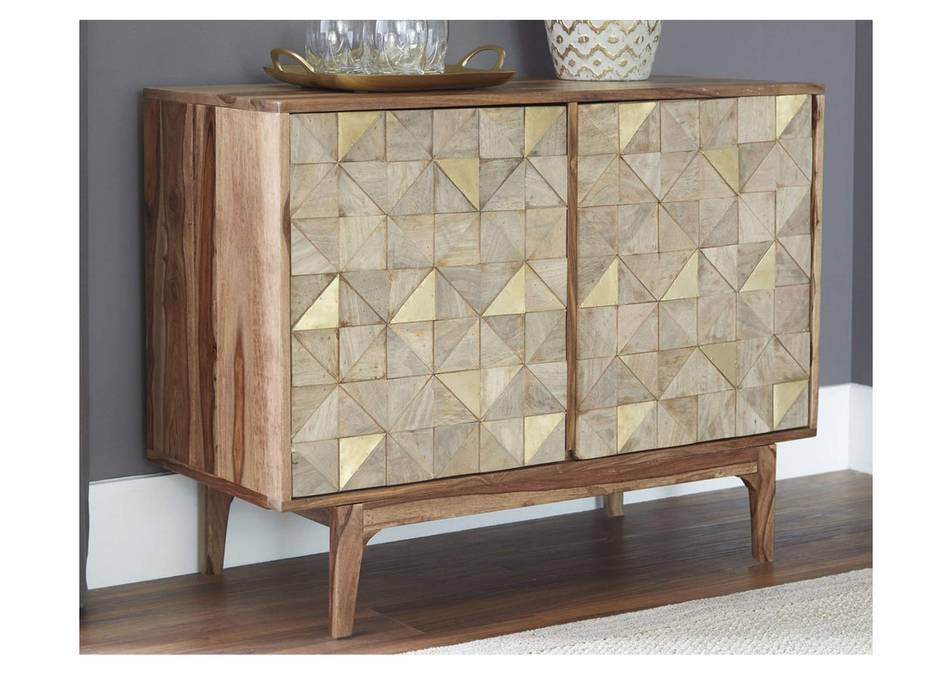 Carolmore Brown/Gold Accent Cabinet,Signature Design By Ashley