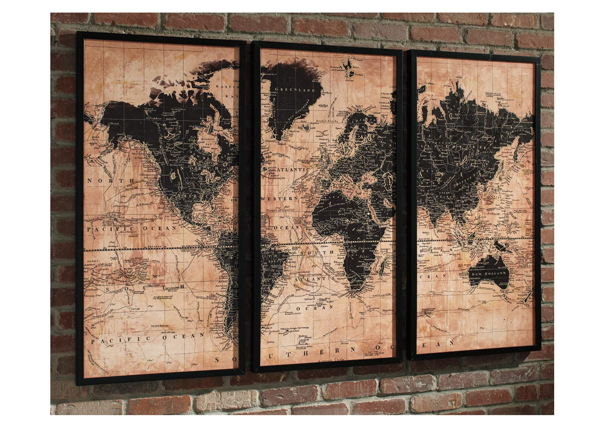 Pollyanna World Map 3 Piece Wall Art Set,Signature Design By Ashley