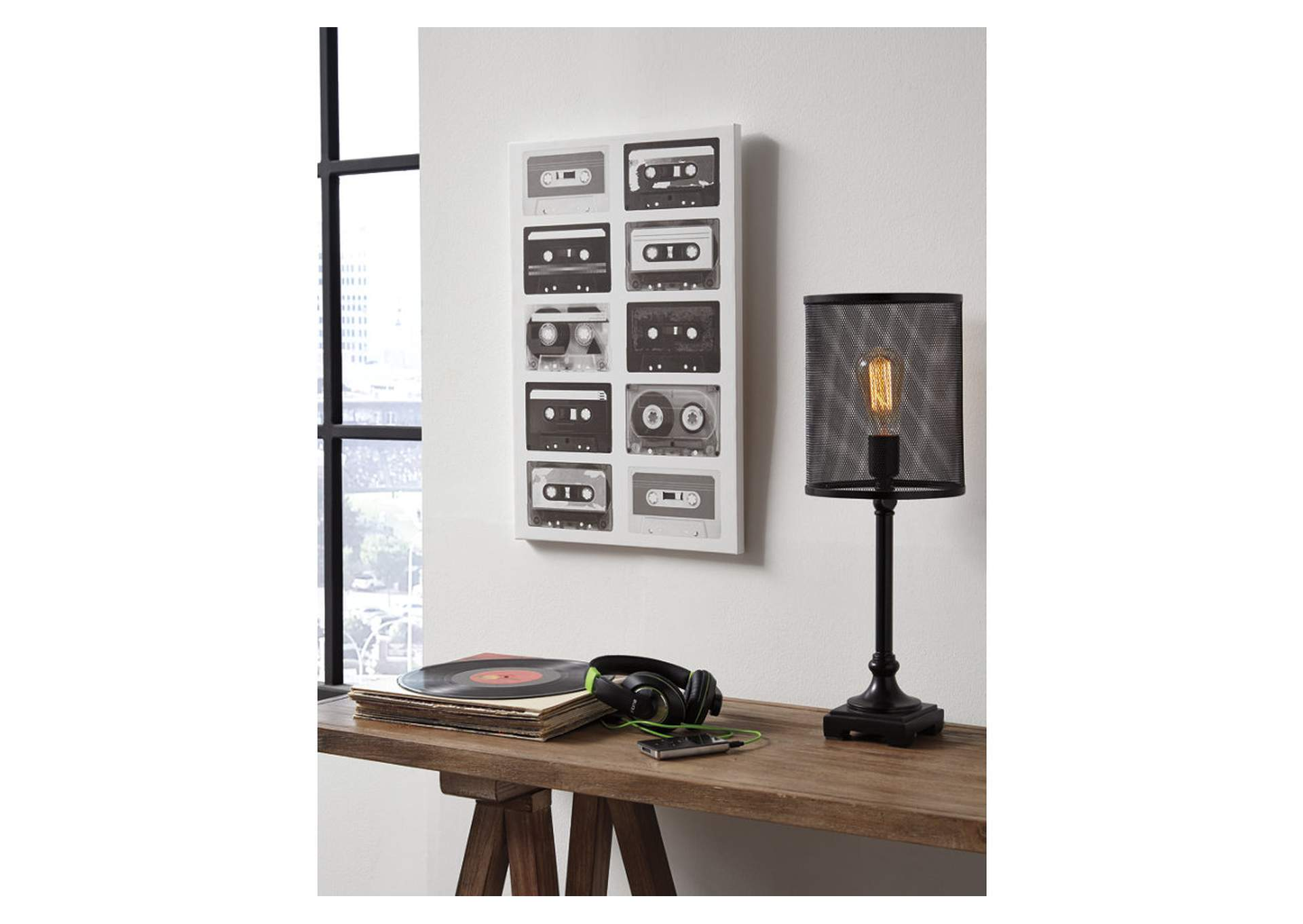 Peers Black/White Music Cassette Wall Art,Direct To Consumer Express