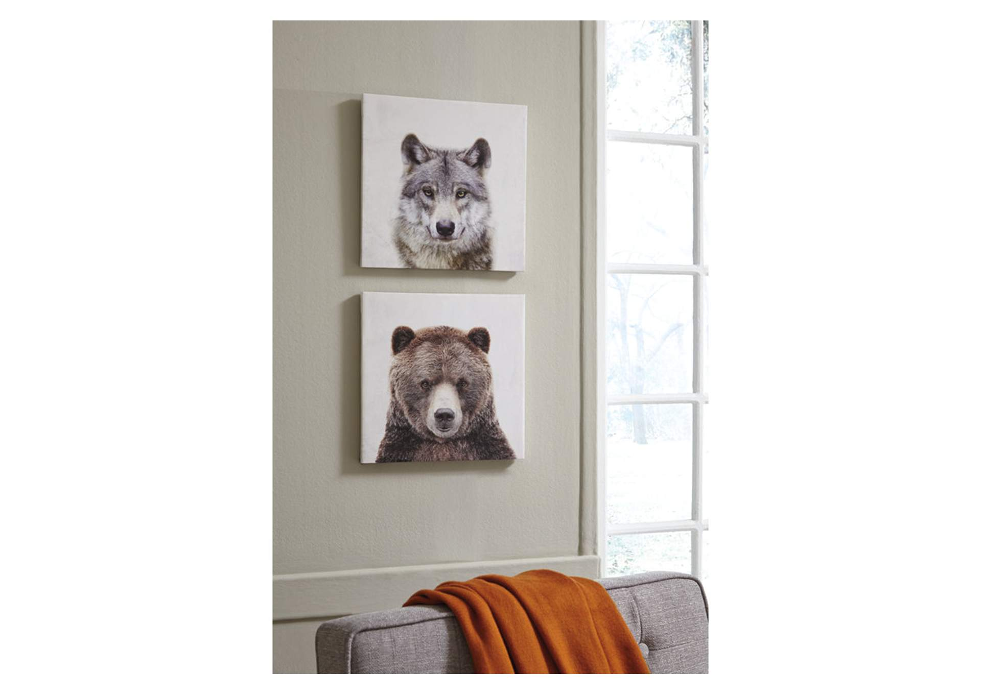 Albert Wolf and Bear 2 Piece Wall Art Set,Signature Design By Ashley