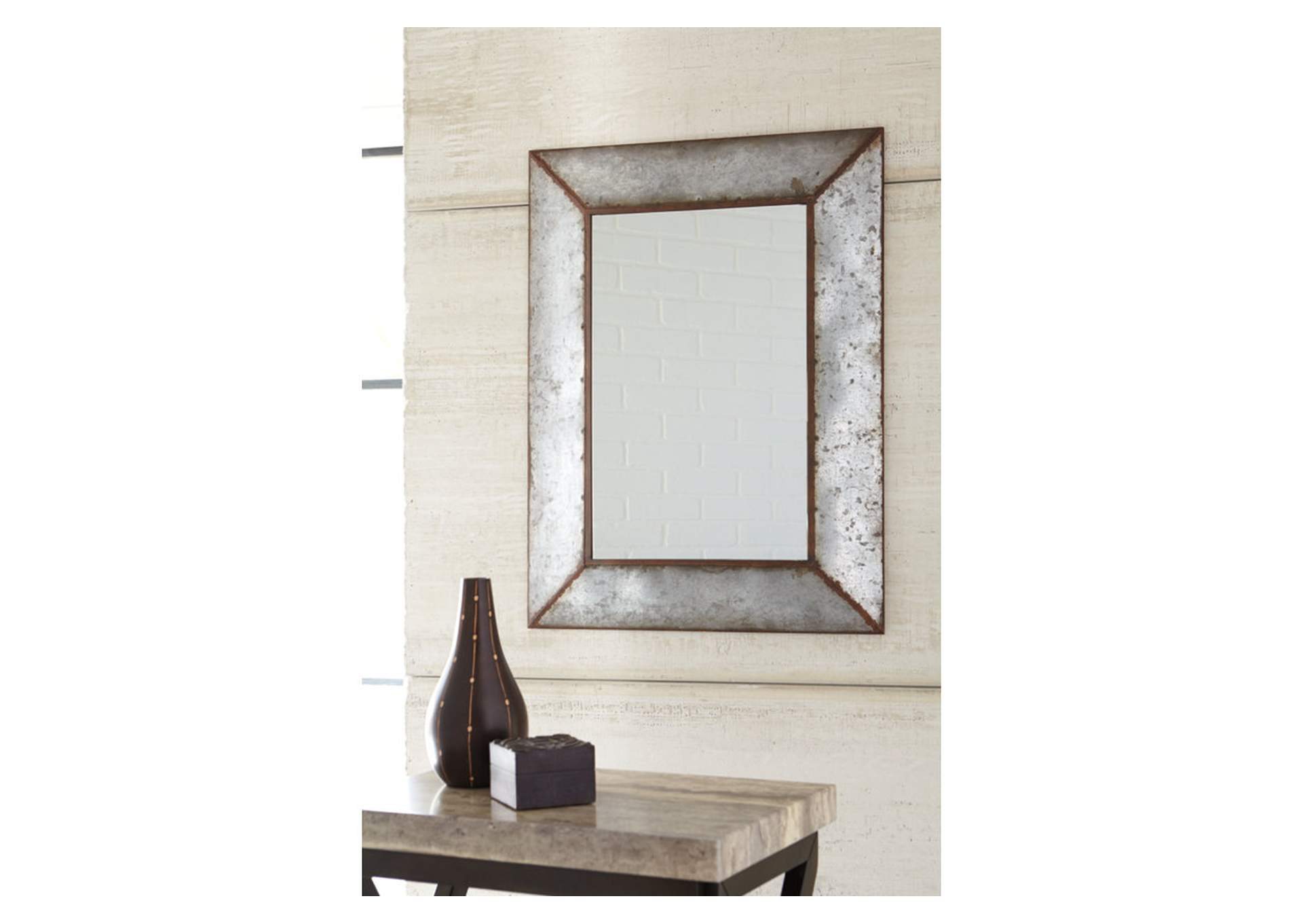 O''Tallay Antique Gray Accent Mirror,Signature Design By Ashley