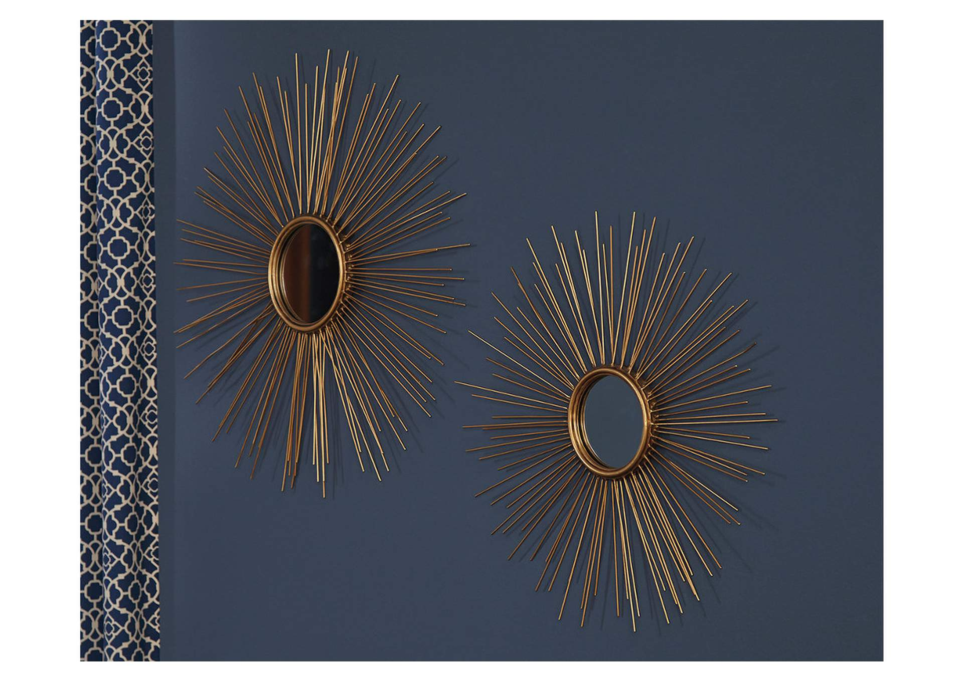 Doniel Antique Gold Finish Accent Mirror Set (Set of 2),Signature Design By Ashley