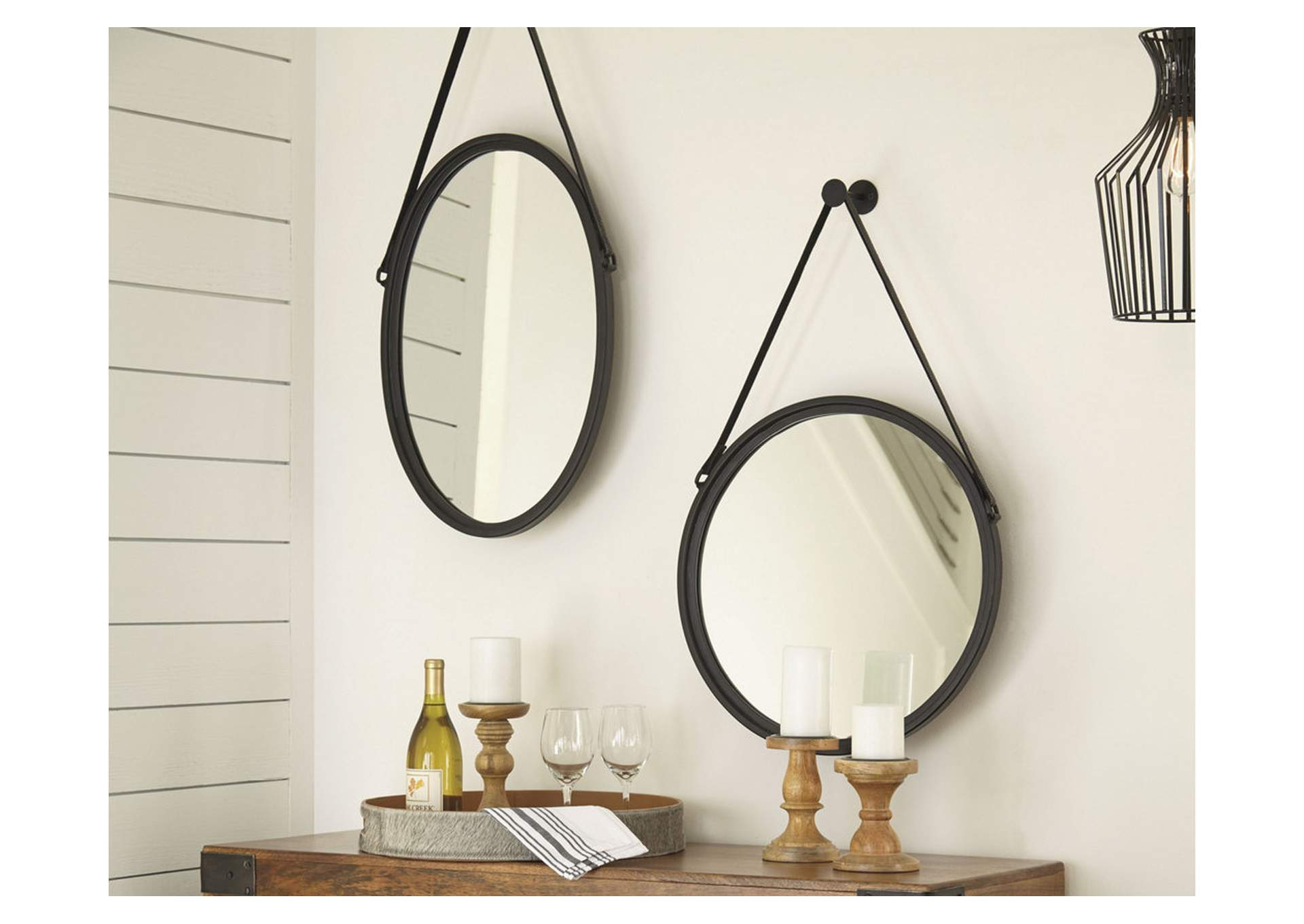 Dusan Black Round Accent Mirror,Direct To Consumer Express