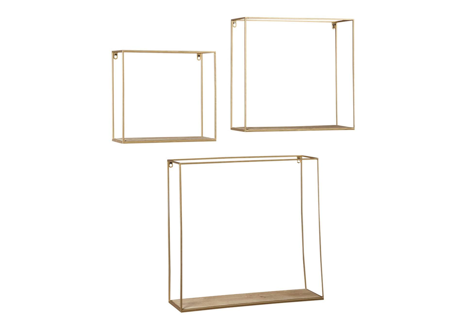 Efharis Natural/Gold Finish Wall Shelf Set (Set of 3),Direct To Consumer Express