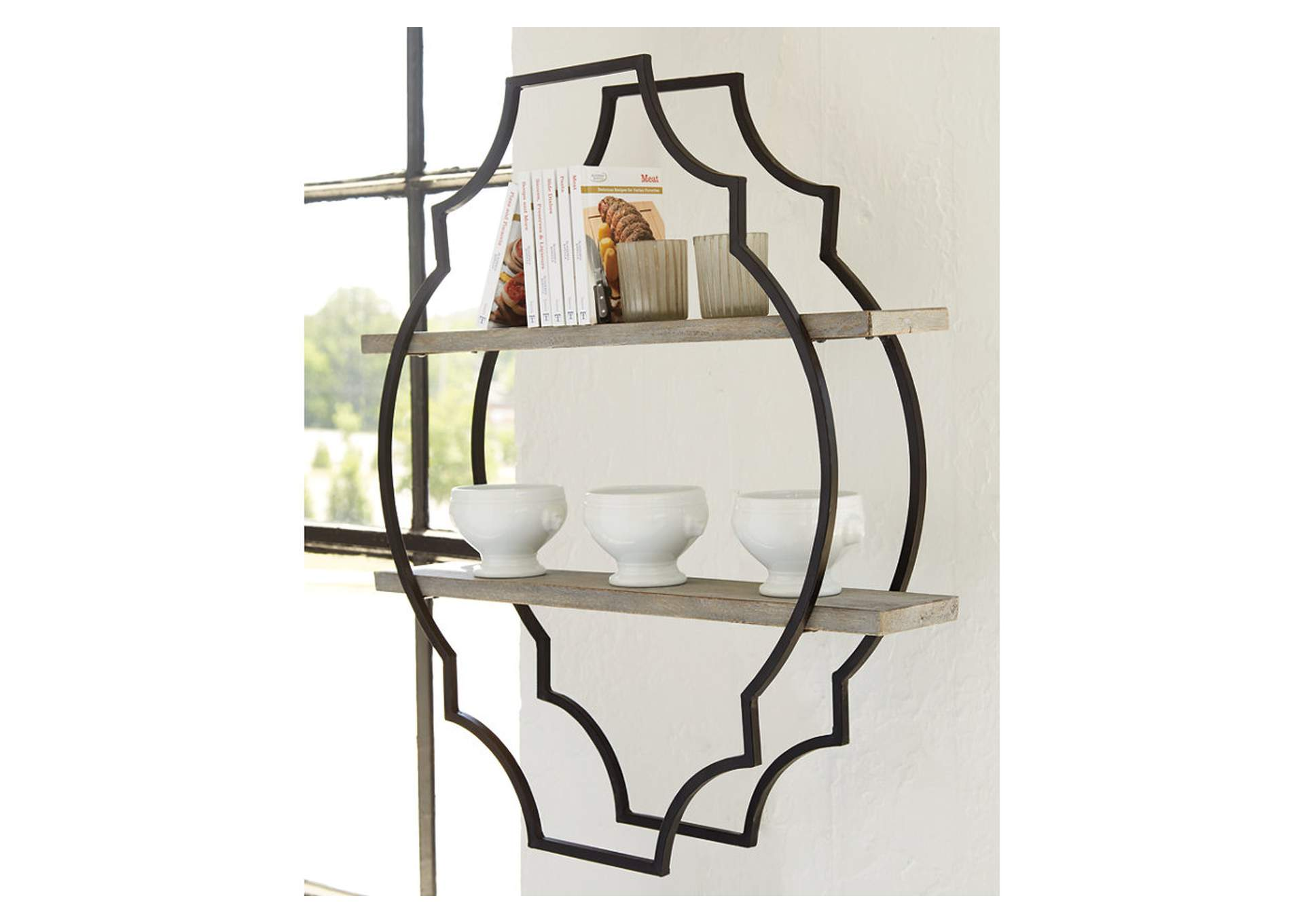 Candon Antique Gray/Black Wall Shelf,Signature Design By Ashley