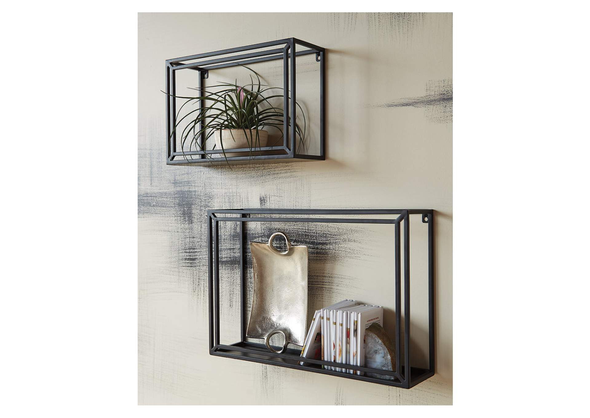 Ehren Black Wall Shelf (Set of 2),Signature Design By Ashley