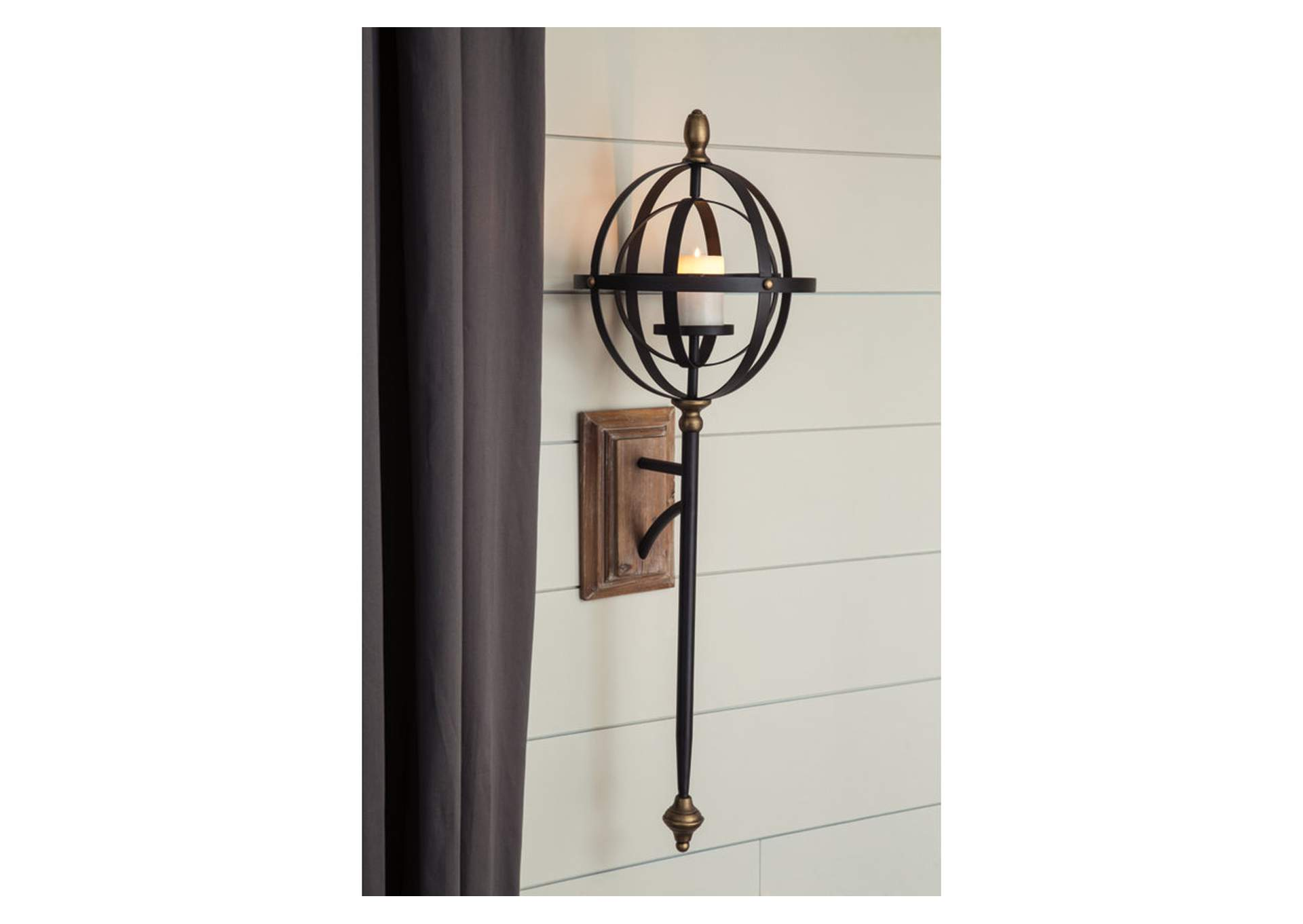 Dina Black/Gold Finish Wall Sconce,Direct To Consumer Express