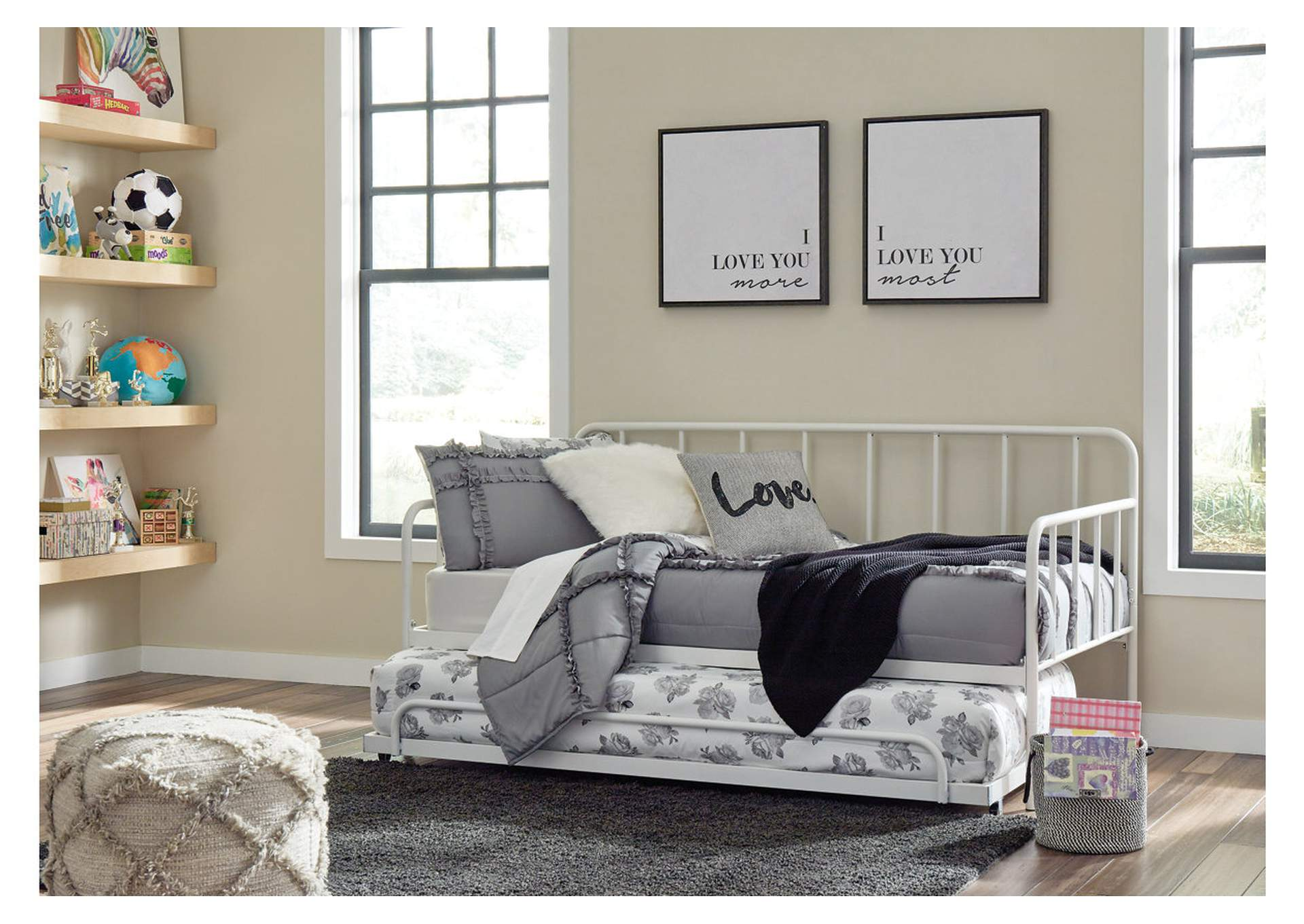 Trentlore Twin Metal Day Bed with Trundle,Signature Design By Ashley