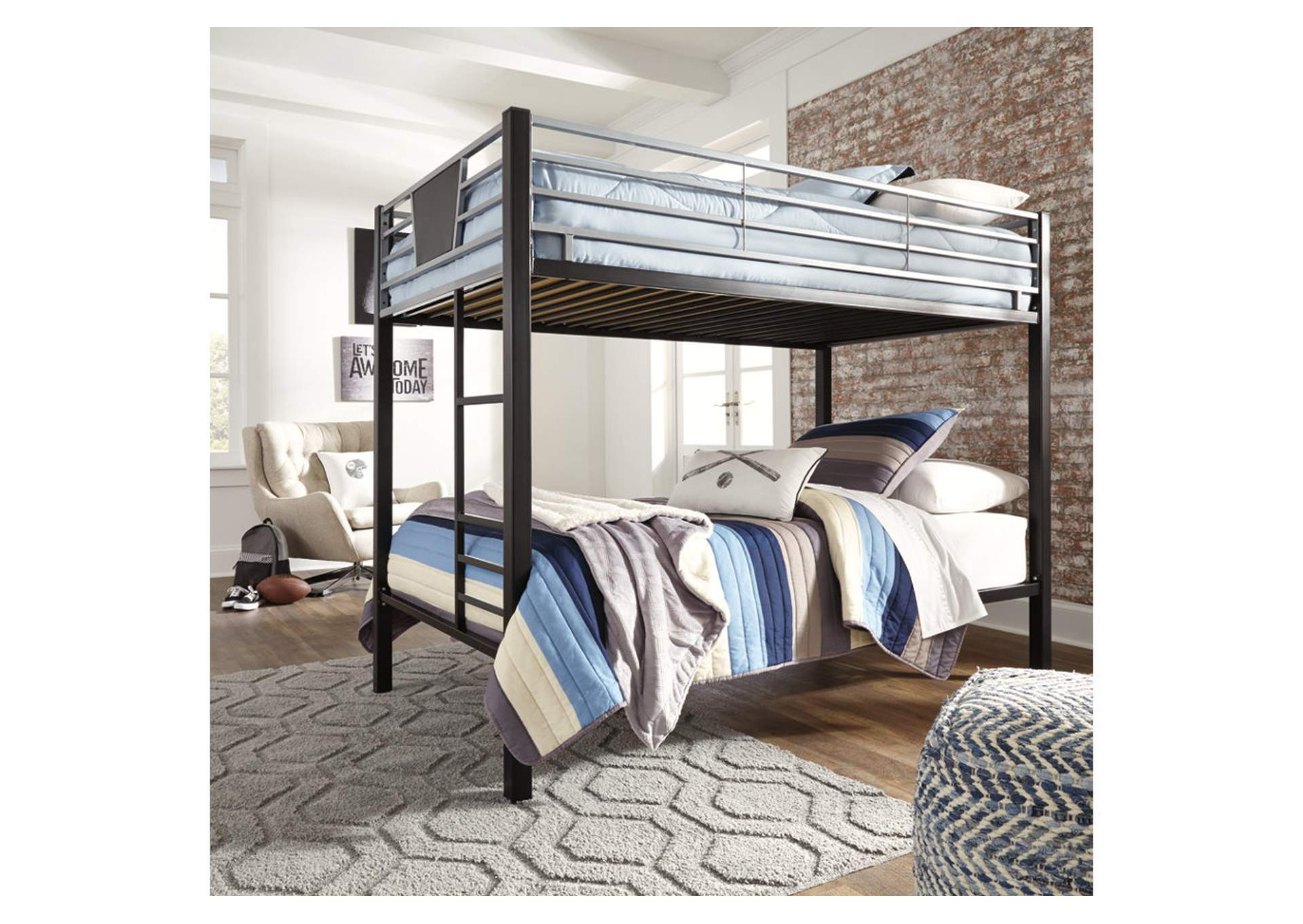 Dinsmore Black/Gray Twin Bunk Bed w/Ladder,Signature Design By Ashley