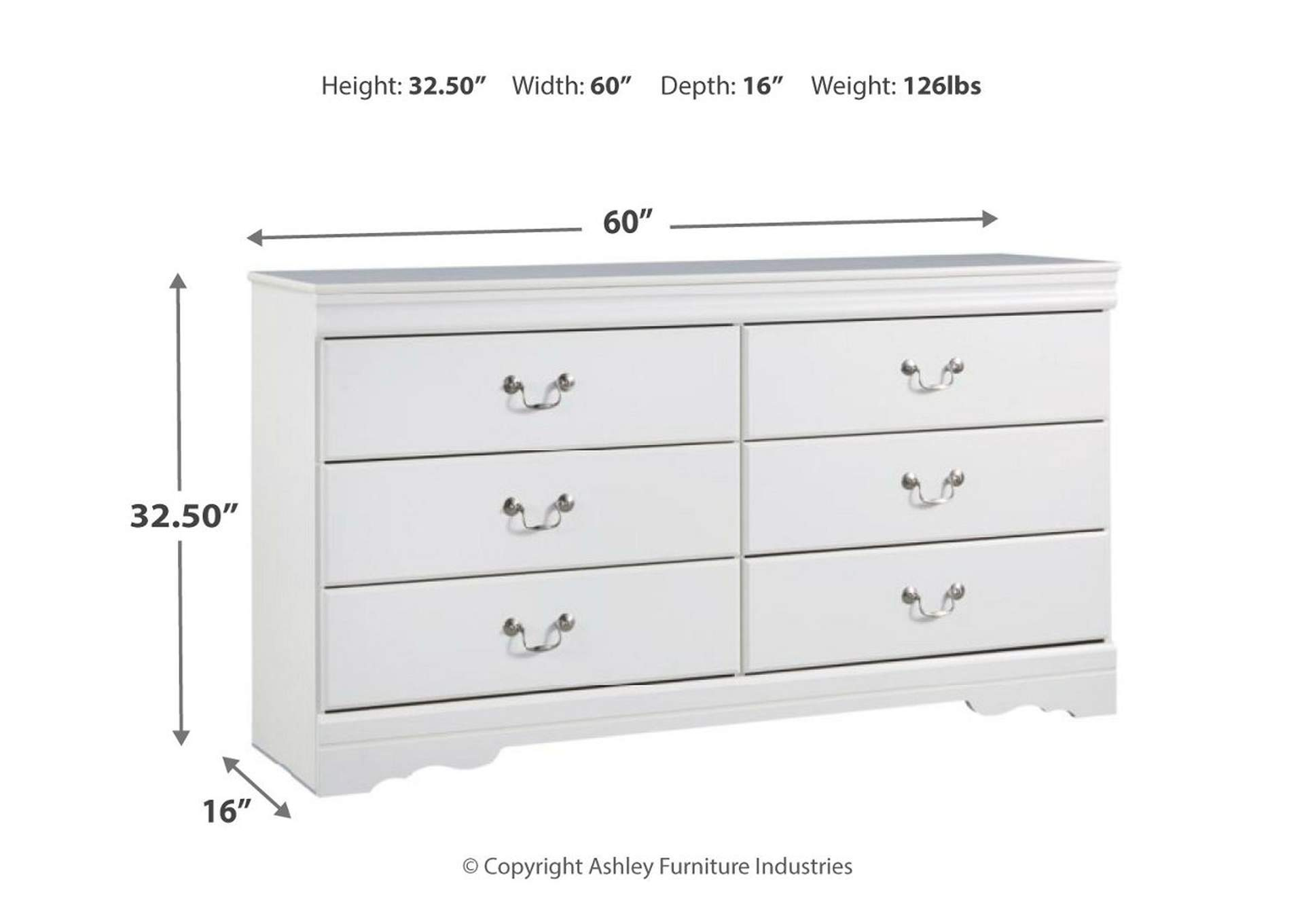 Anarasia White Dresser,Signature Design By Ashley