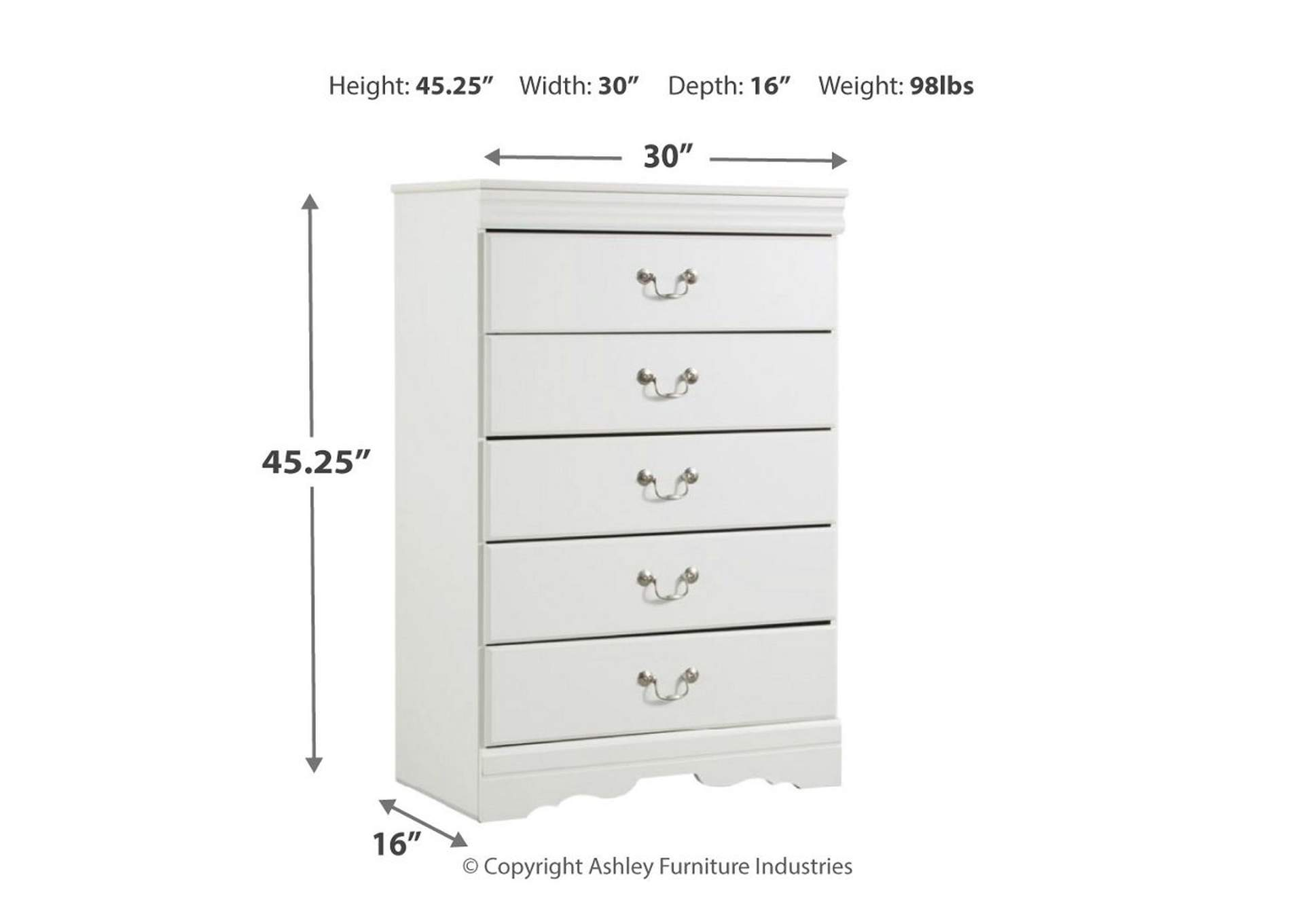 Anarasia White Five Drawer Chest,Signature Design By Ashley