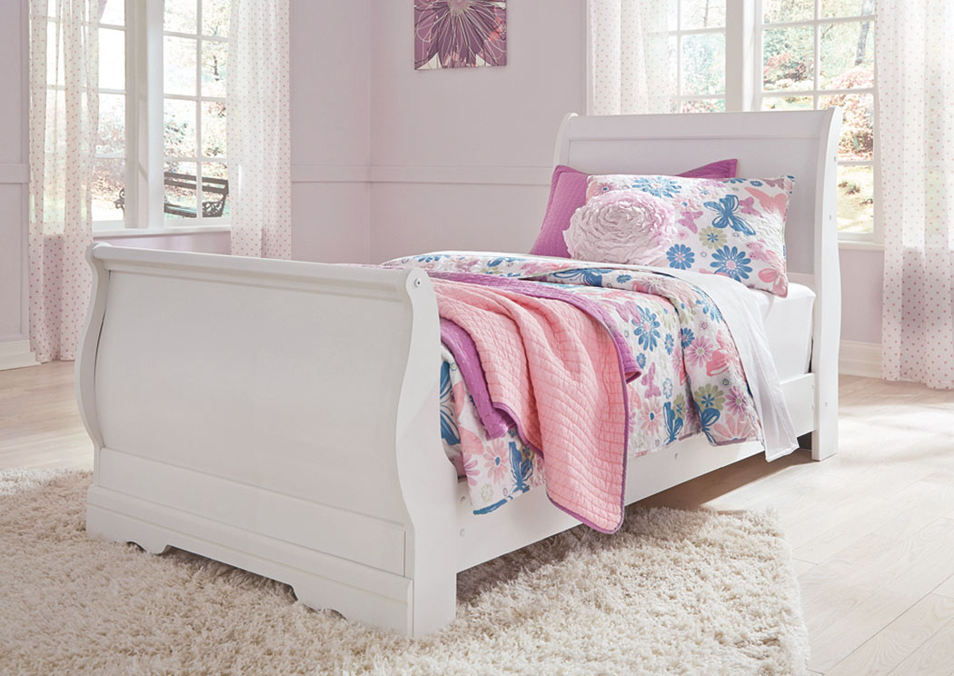 Anarasia White Twin Sleigh Bed,Direct To Consumer Express