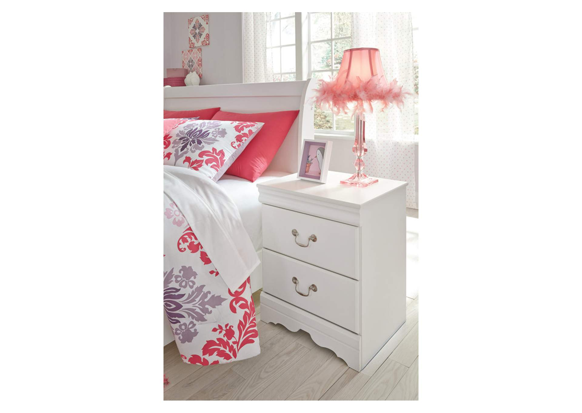 Anarasia White Two Drawer Nightstand,Direct To Consumer Express