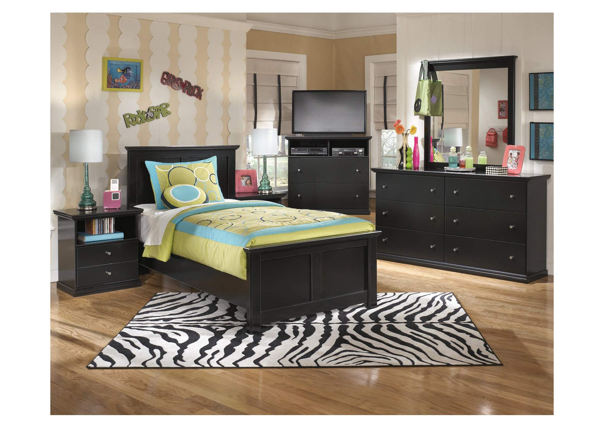 Maribel Twin Panel Bed, Dresser & Mirror,Signature Design By Ashley