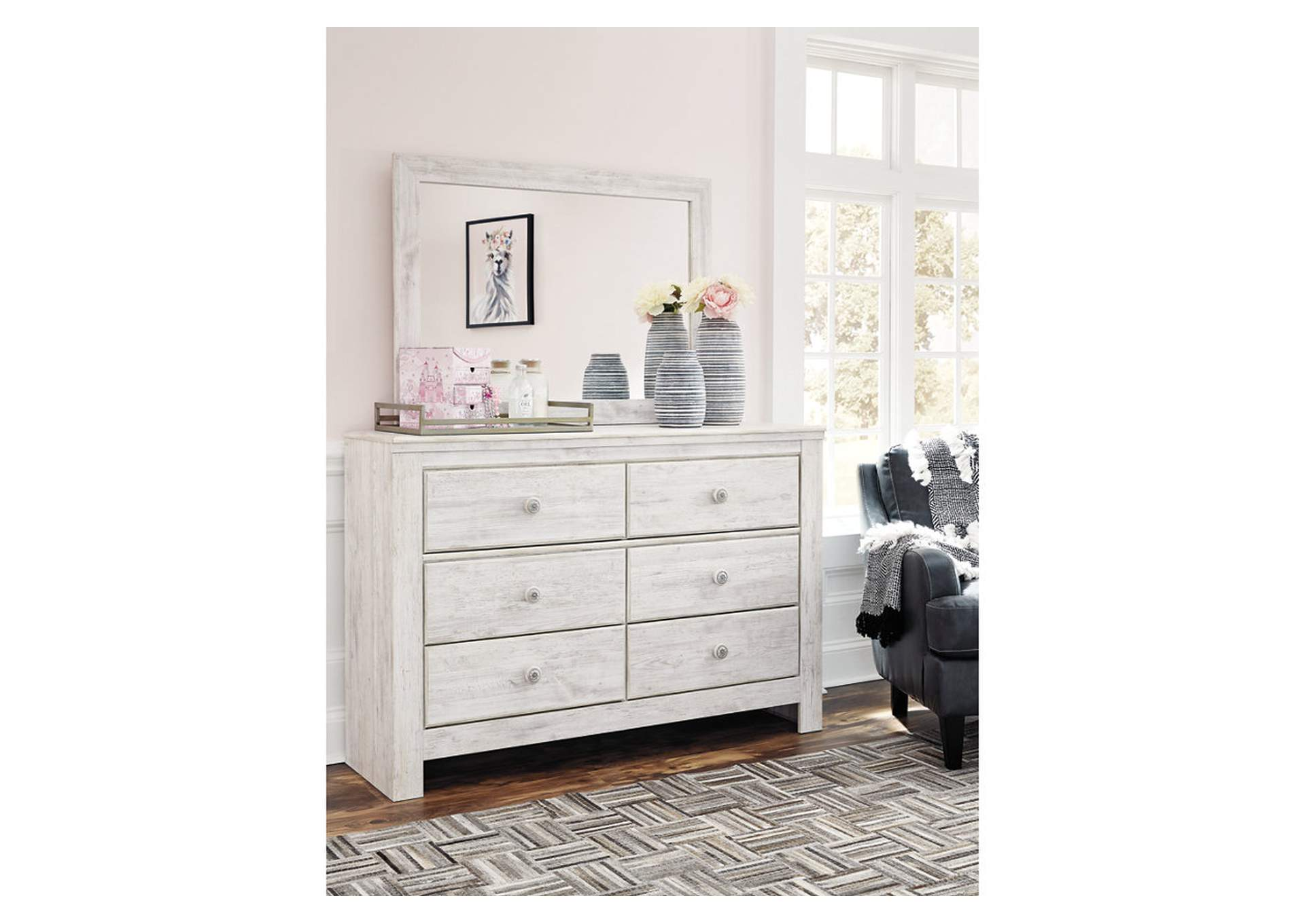 Paxberry Whitewash Dresser and Mirror,Signature Design By Ashley