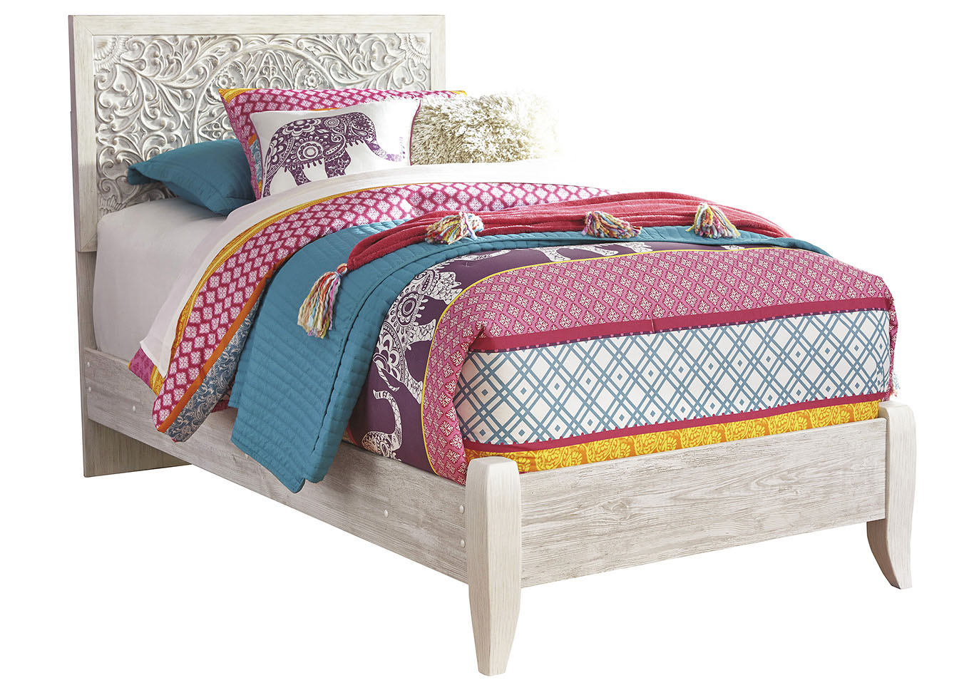 Paxberry Whitewash Twin Panel Bed,Signature Design By Ashley